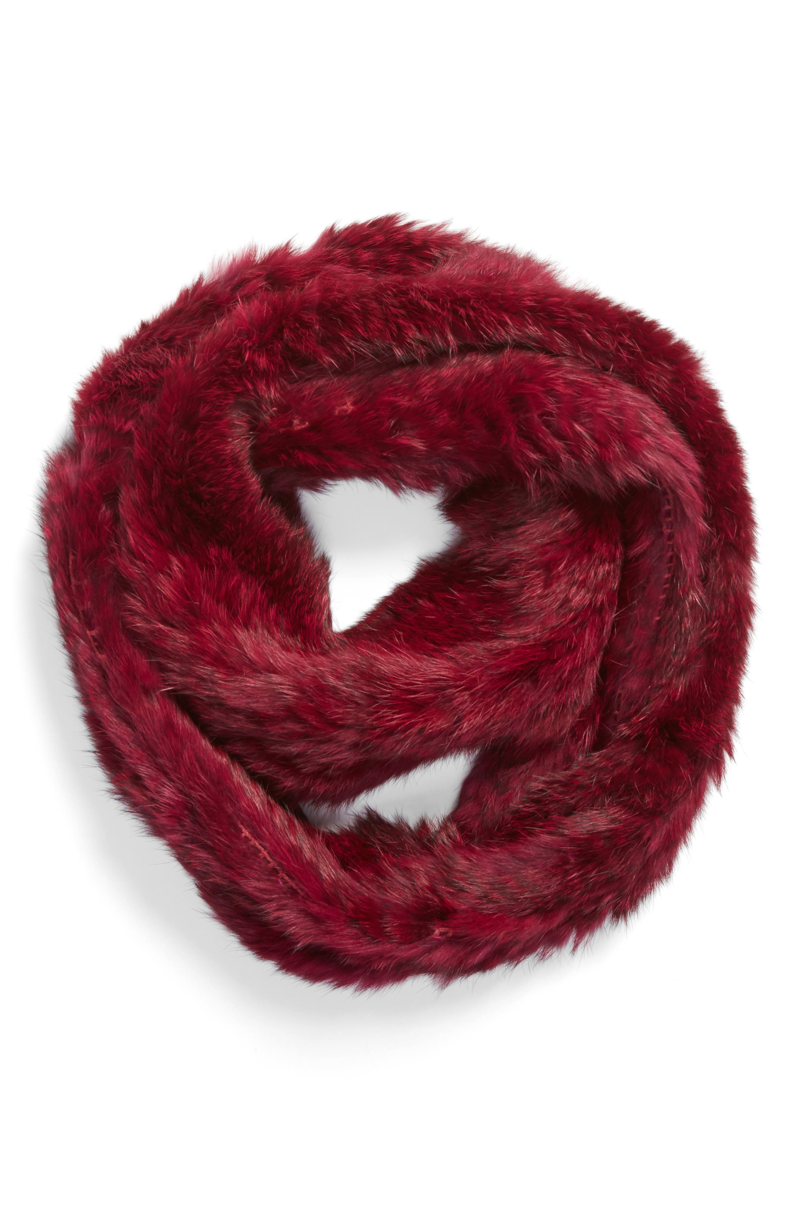 Overdyed Genuine Rabbit Fur Infinity Scarf,                             Alternate thumbnail 3, color,                             Ruby