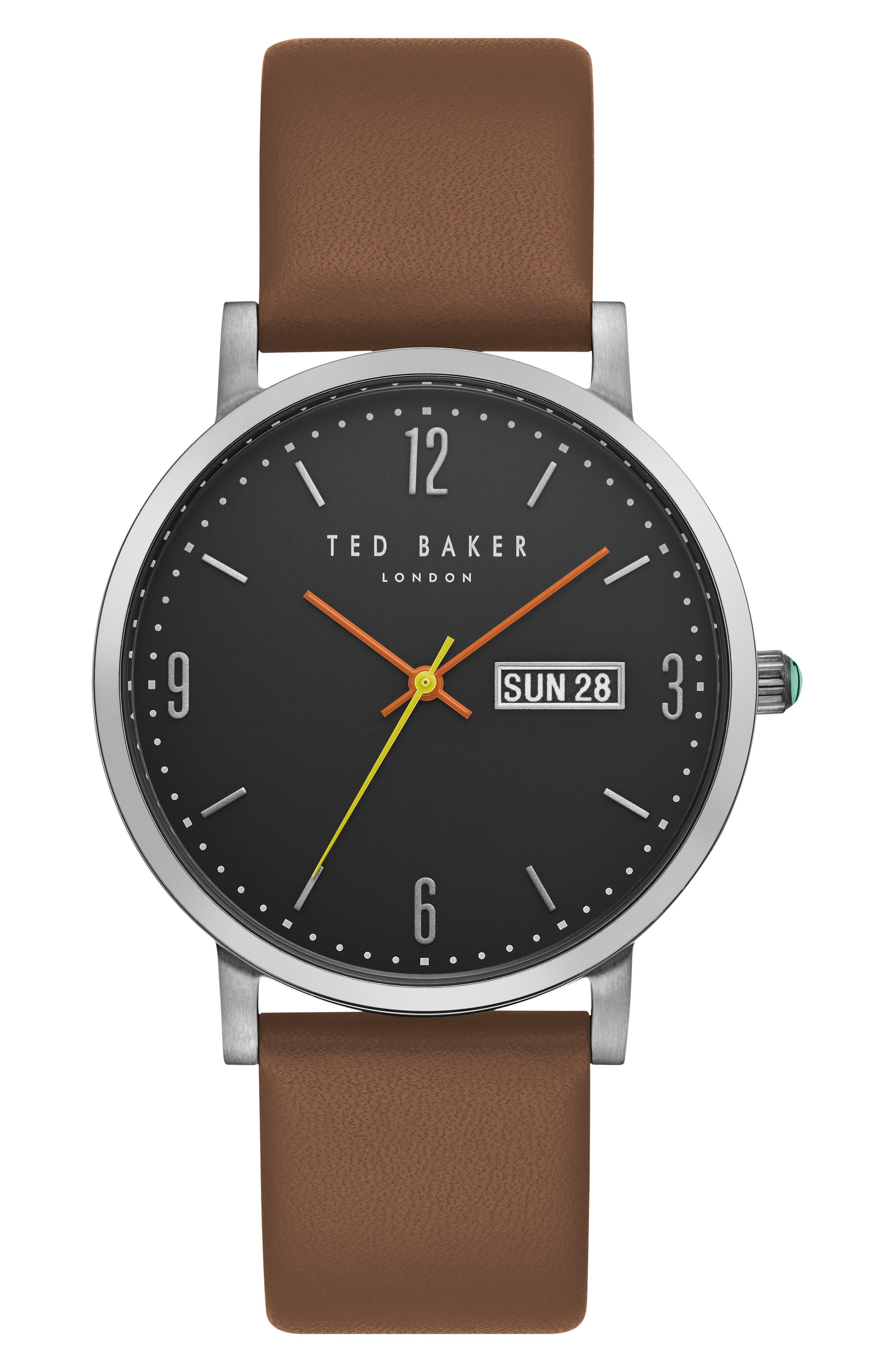 Grant Leather Strap Watch, 40mm,                         Main,                         color, Black/ Light Brown