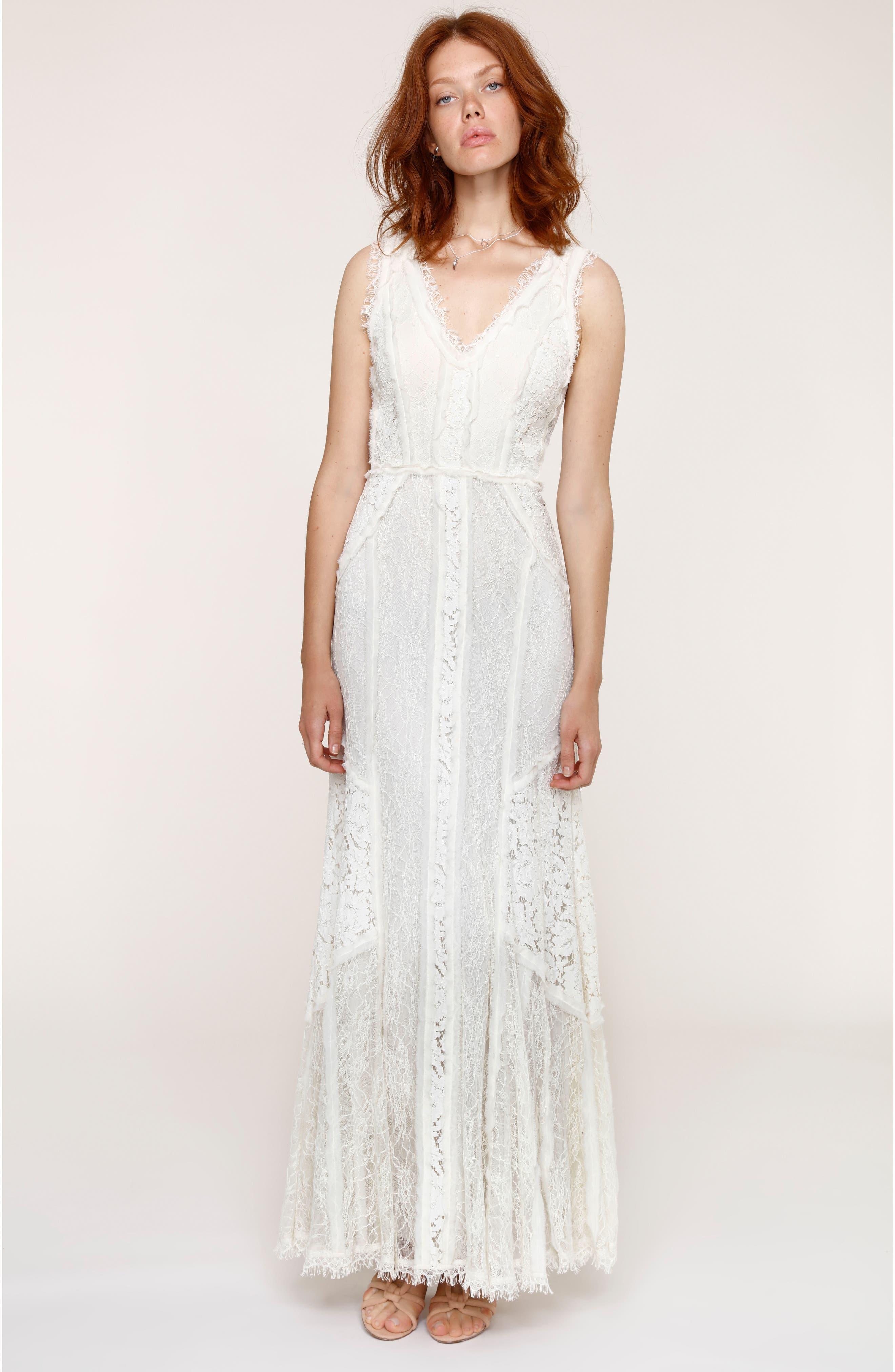 Felix Cutout Back Lace Fit & Flare Dress,                         Main,                         color, Porcelain