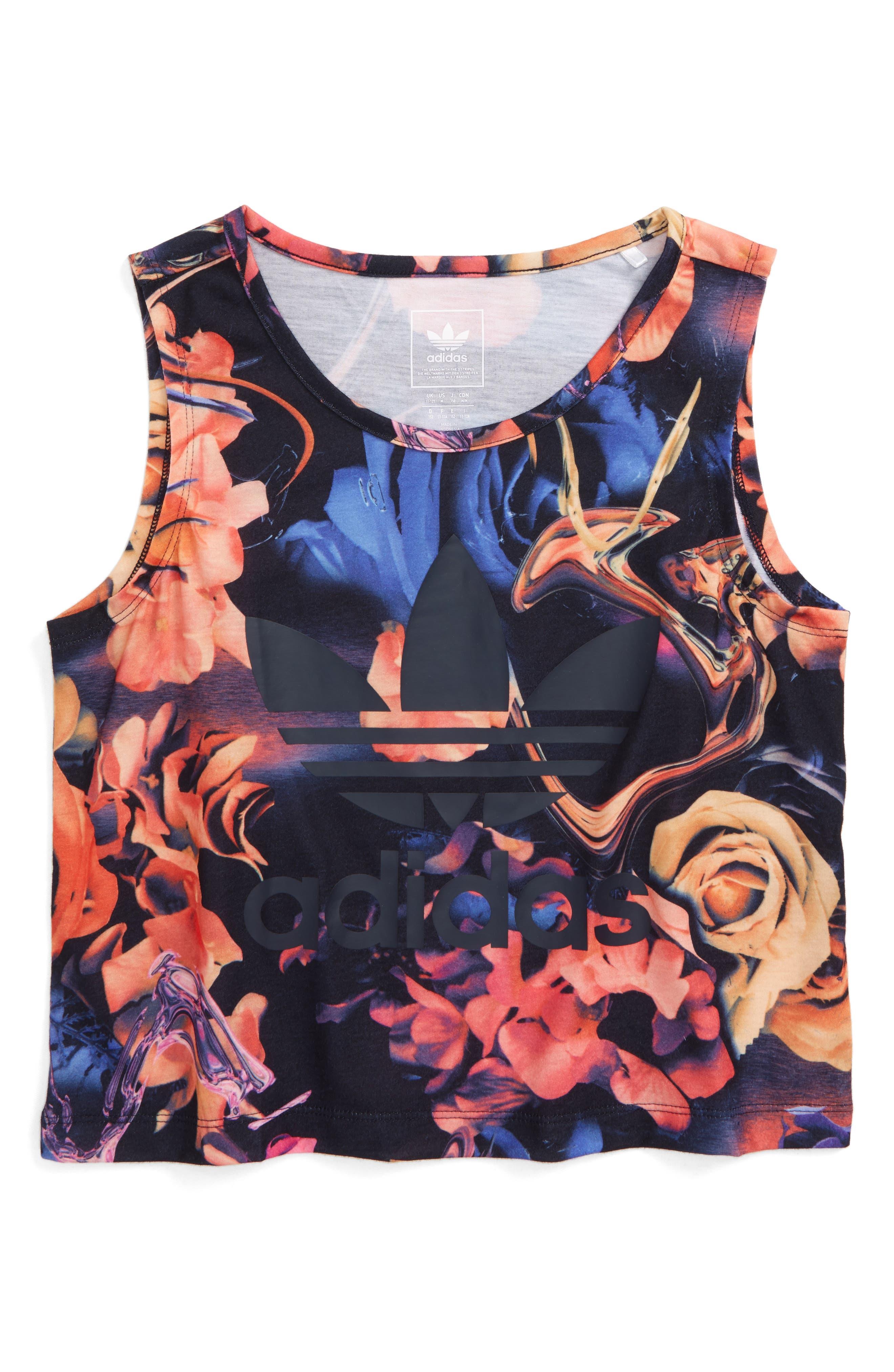 Main Image - adidas Originals Rose Print Tank (Big Girls)