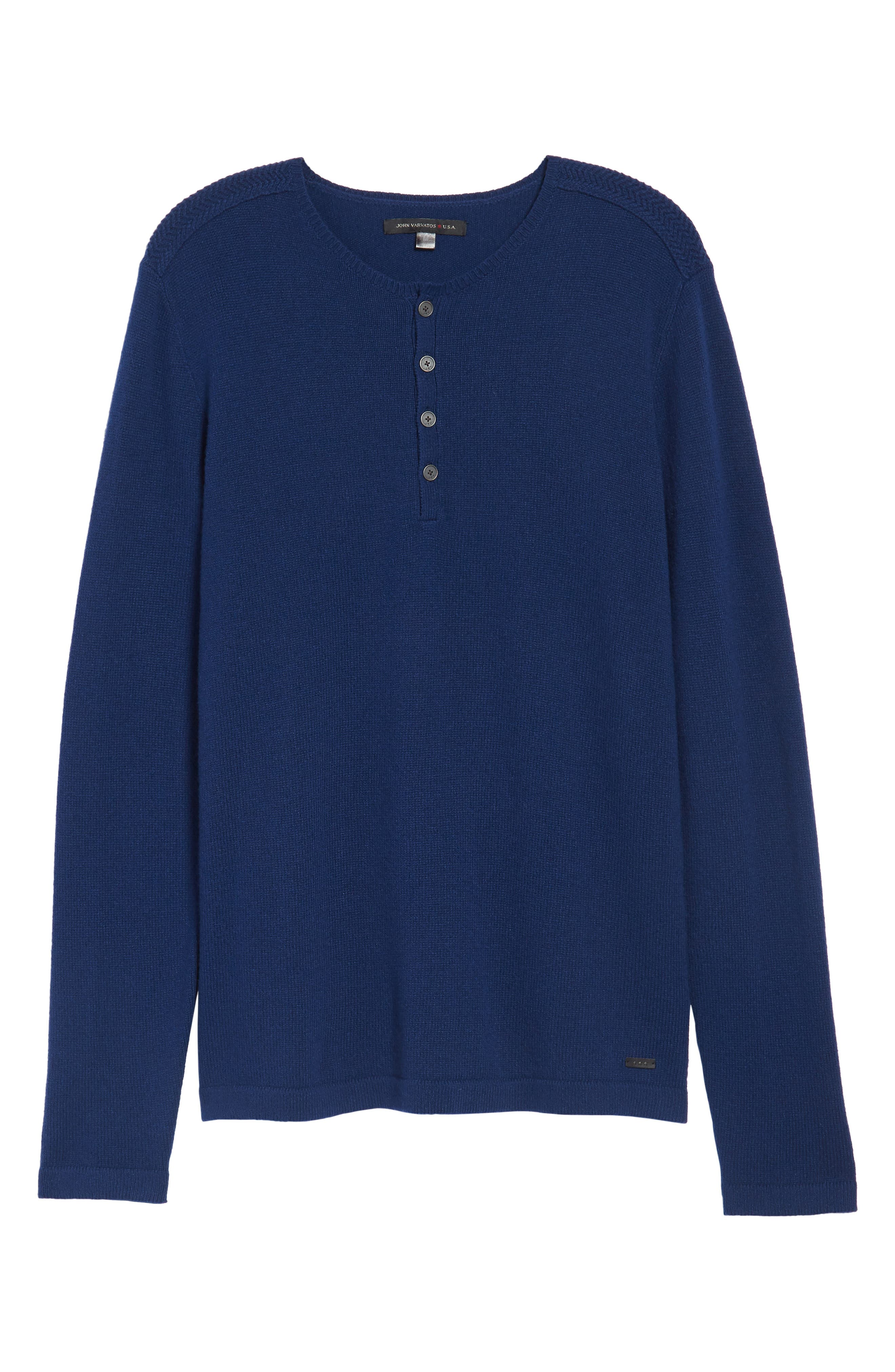 Henley Sweater,                             Alternate thumbnail 6, color,                             Atlantic Blue