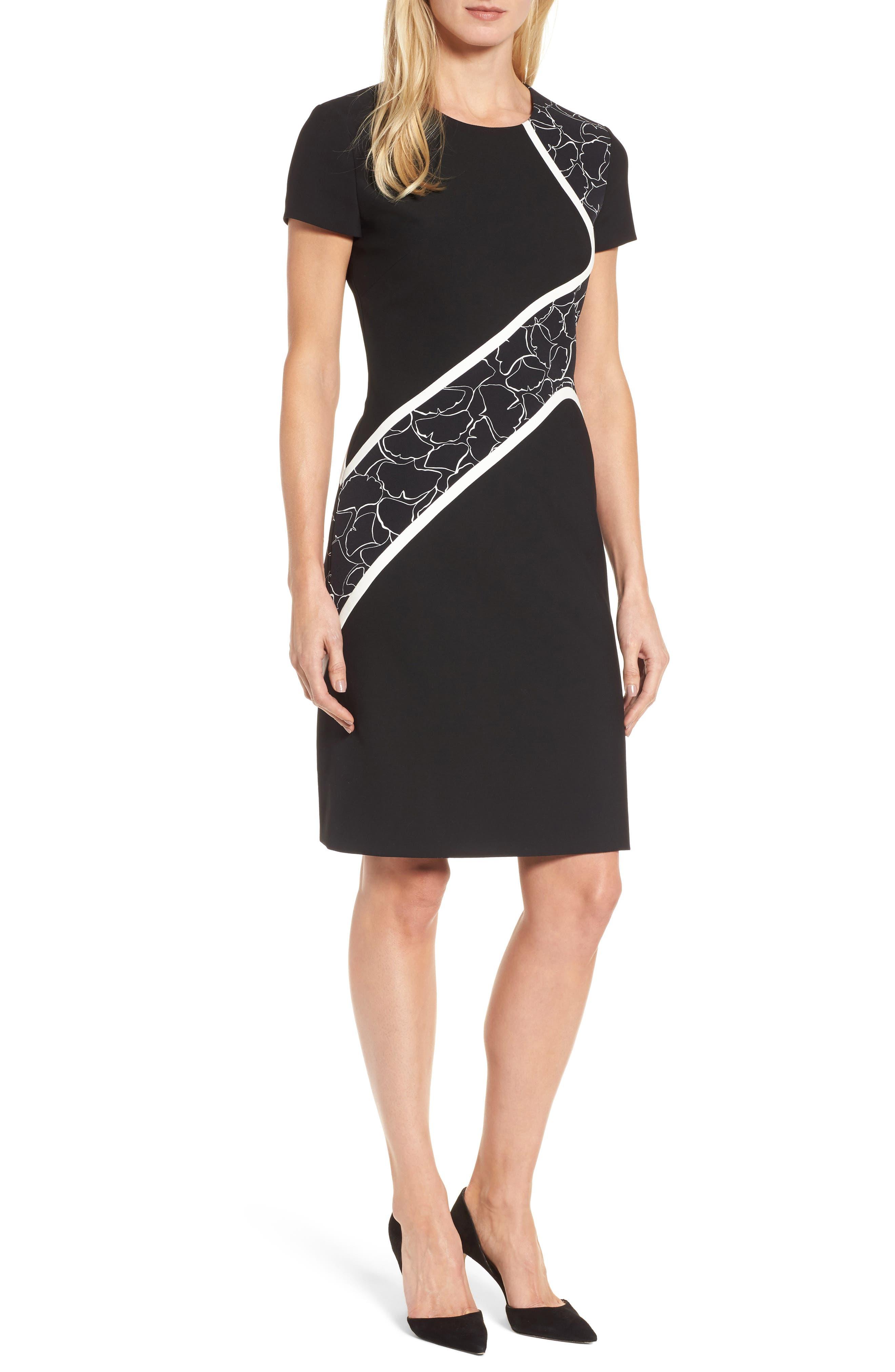 BOSS Dukatia Gingko Print Stretch Sheath Dress