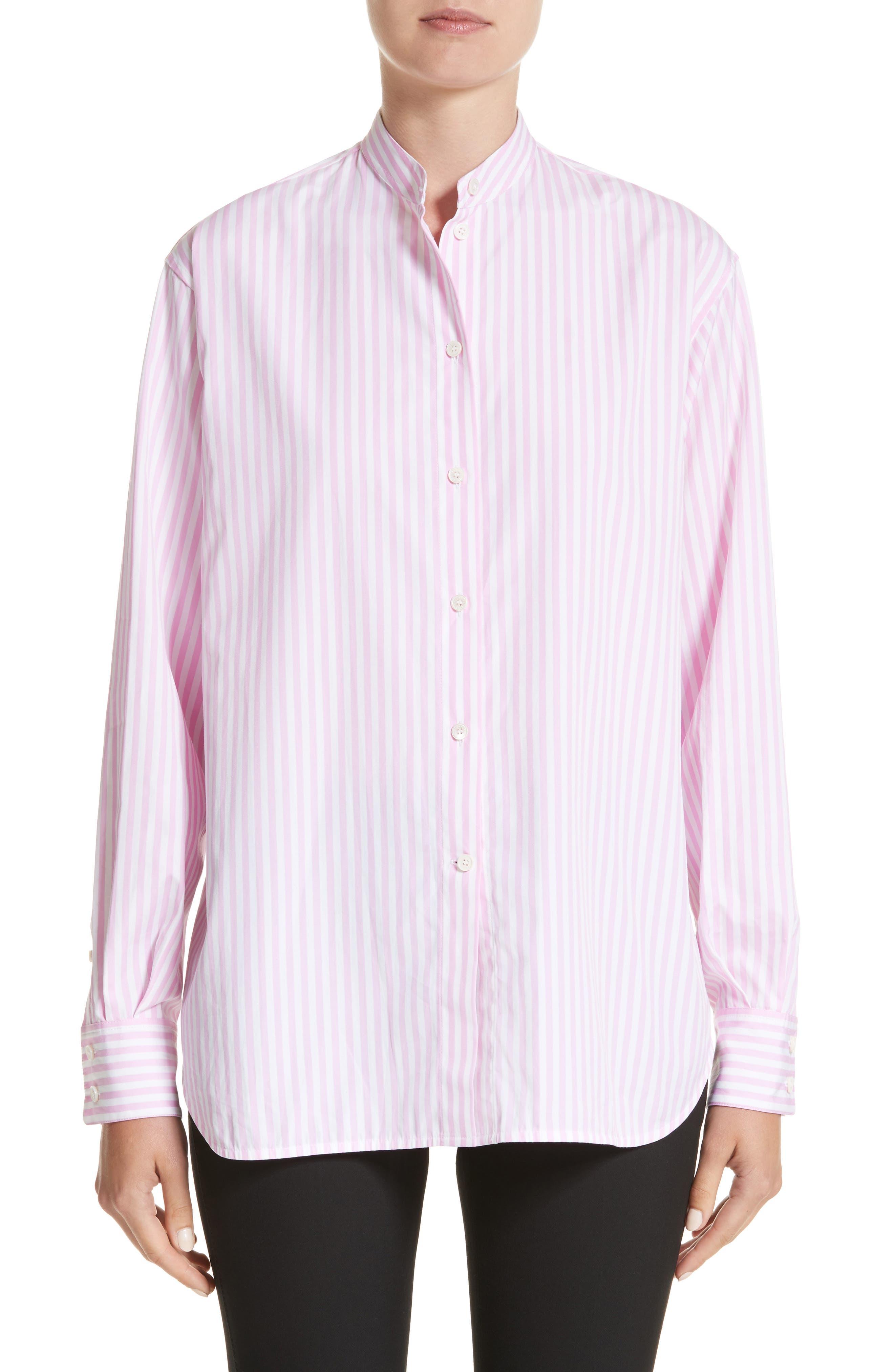 Cotton Grandad Shirt,                         Main,                         color, White/ Rose Pink