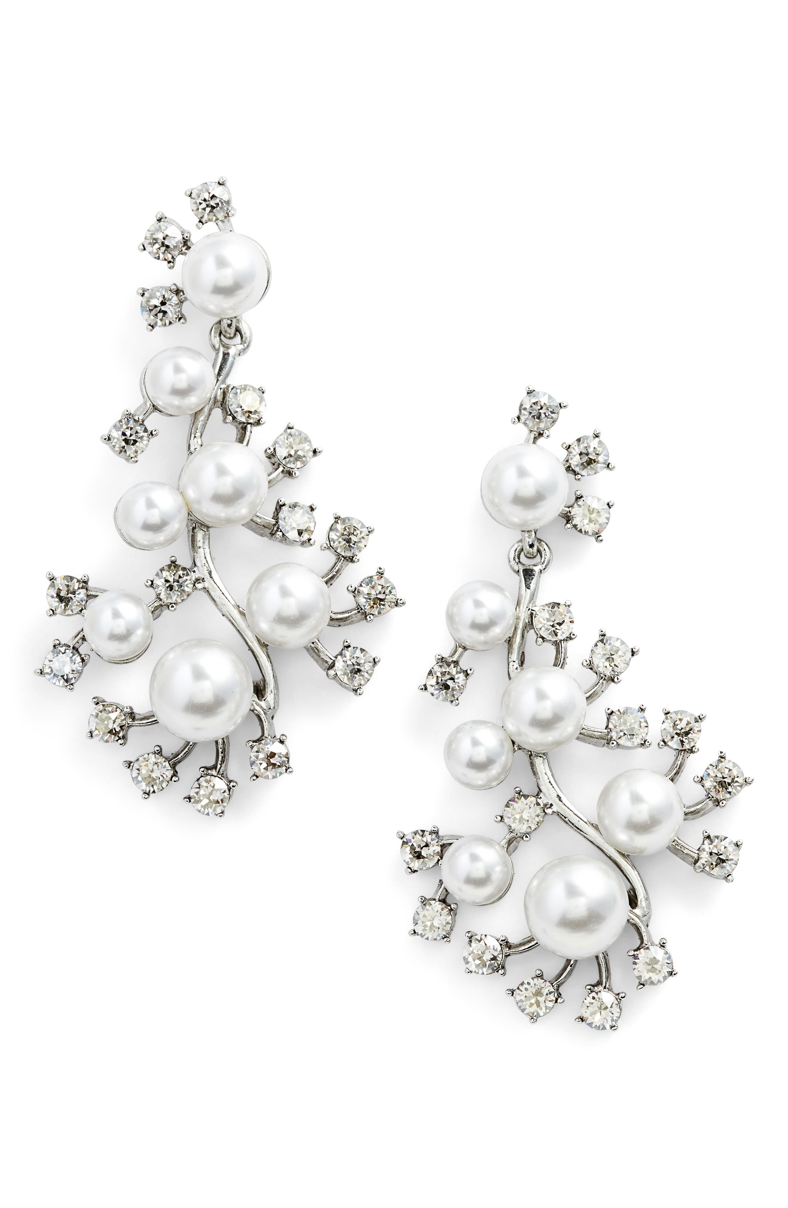Scattered Imitation Pearl & Crystal Drop Earrings,                         Main,                         color, Crystal Shade / Silver