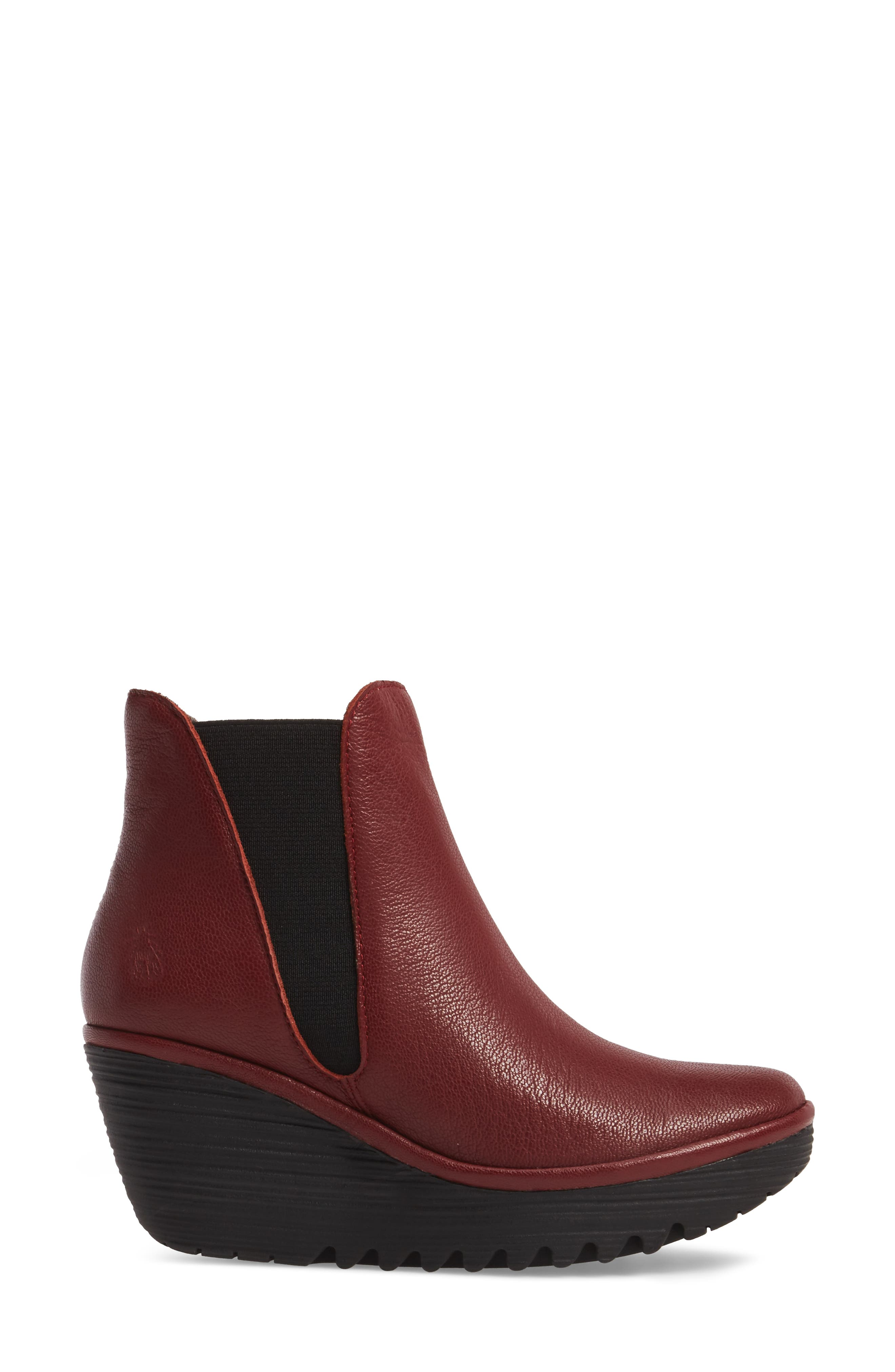 Yoss Wedge Bootie,                             Alternate thumbnail 3, color,                             Cordoba Red Leather