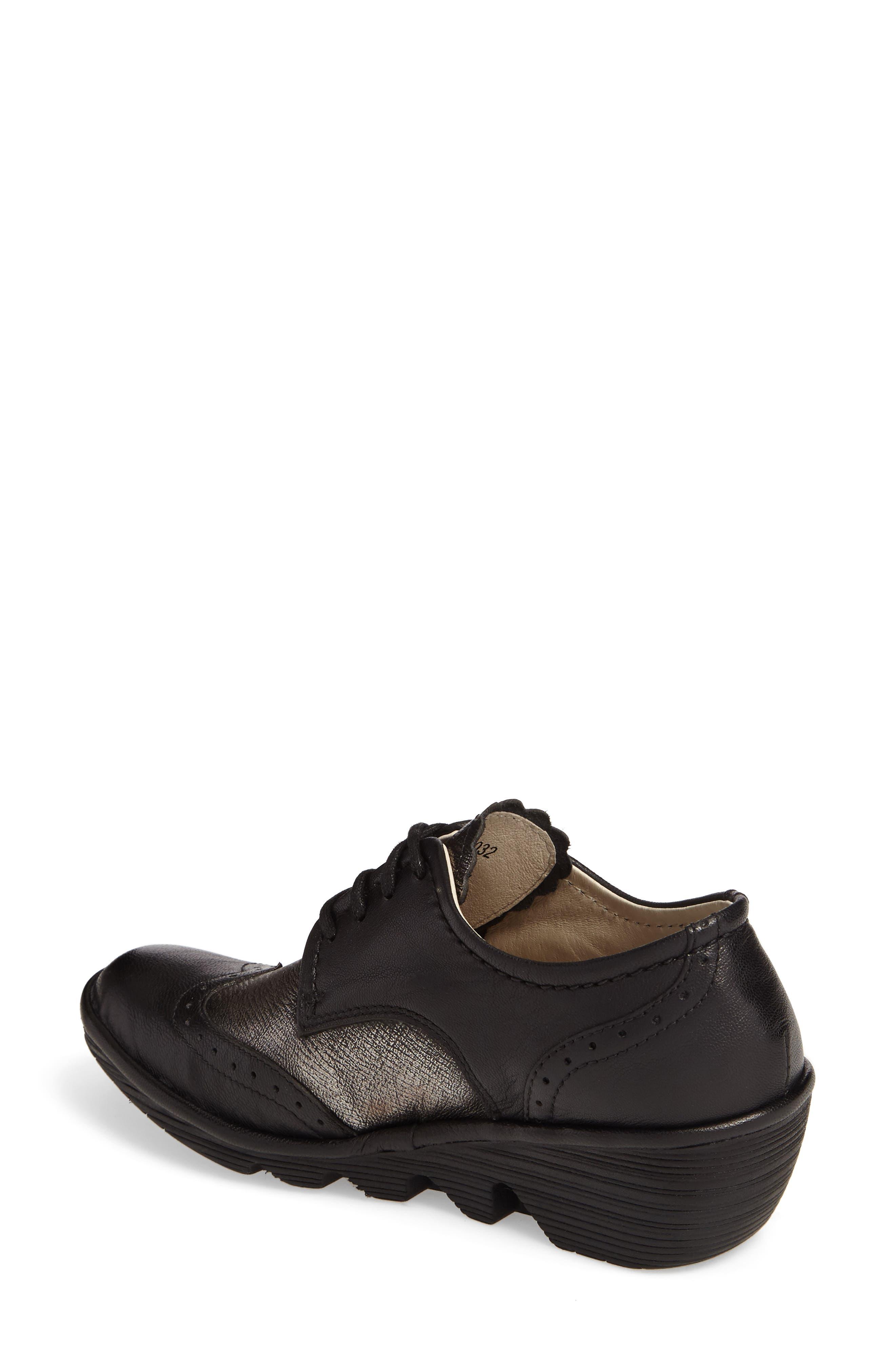'Palt' WedgePump,                             Alternate thumbnail 2, color,                             Black/ Antique Silver Leather