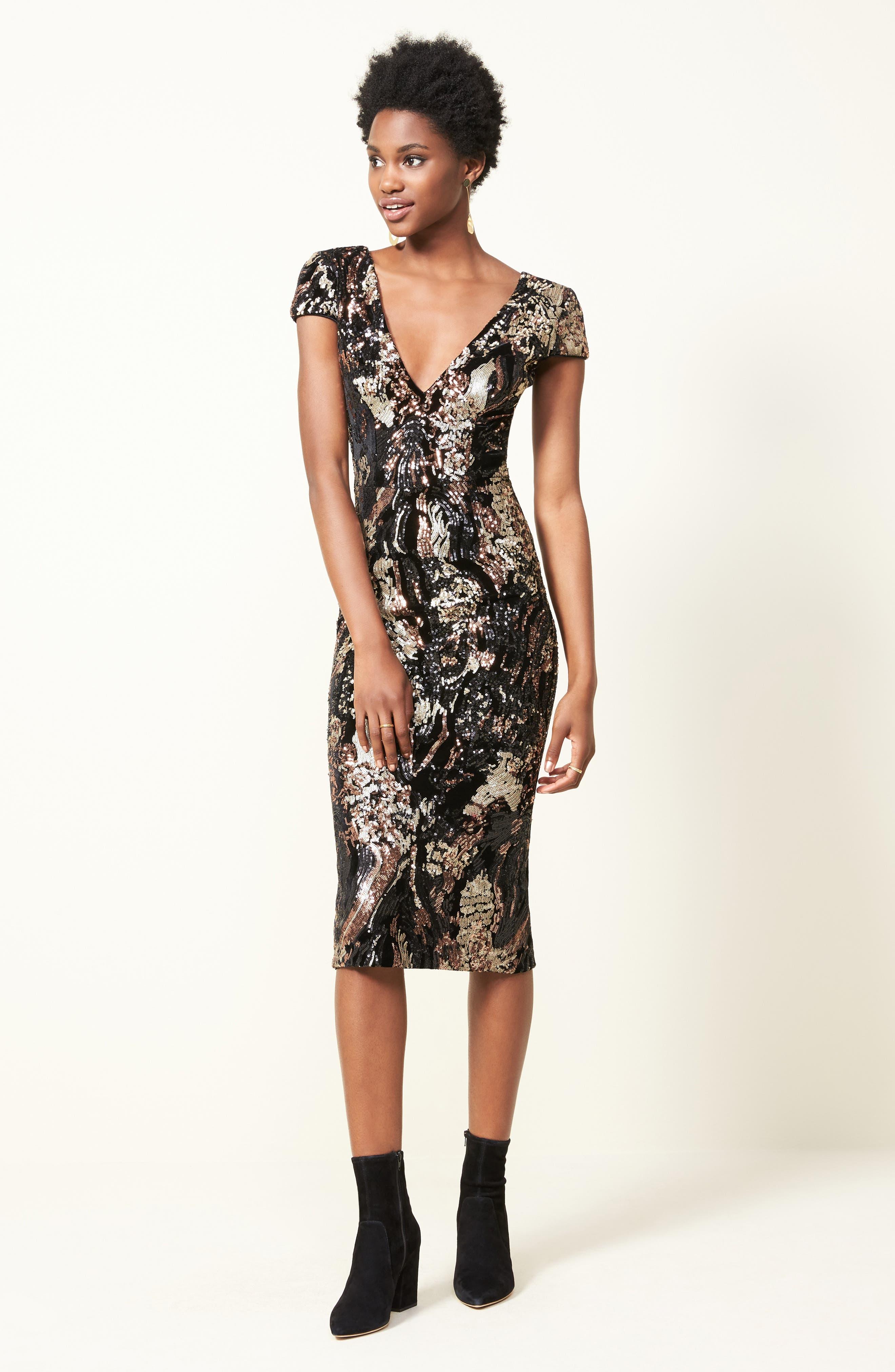 Allison Sequin Velvet Body-Con Dress,                             Alternate thumbnail 2, color,                             Black/ Bronze