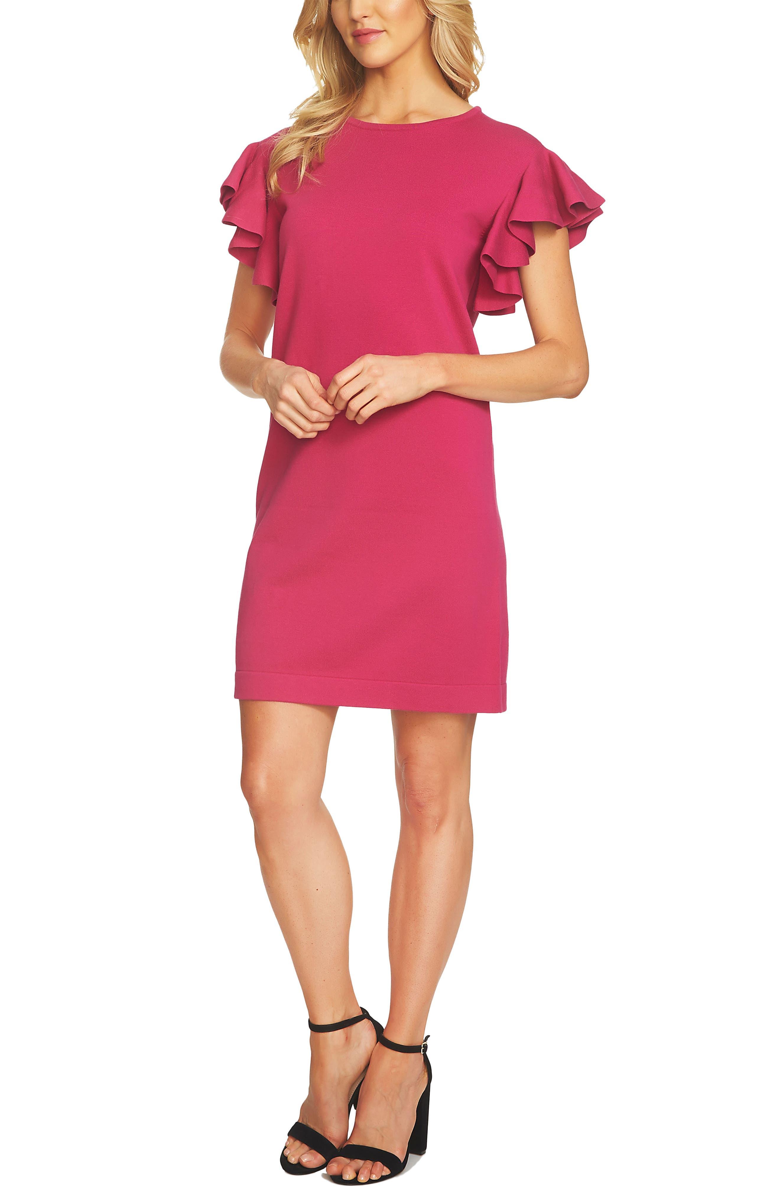 Ruffle Sleeve Sweater Dress,                         Main,                         color, Vibrant Cerise