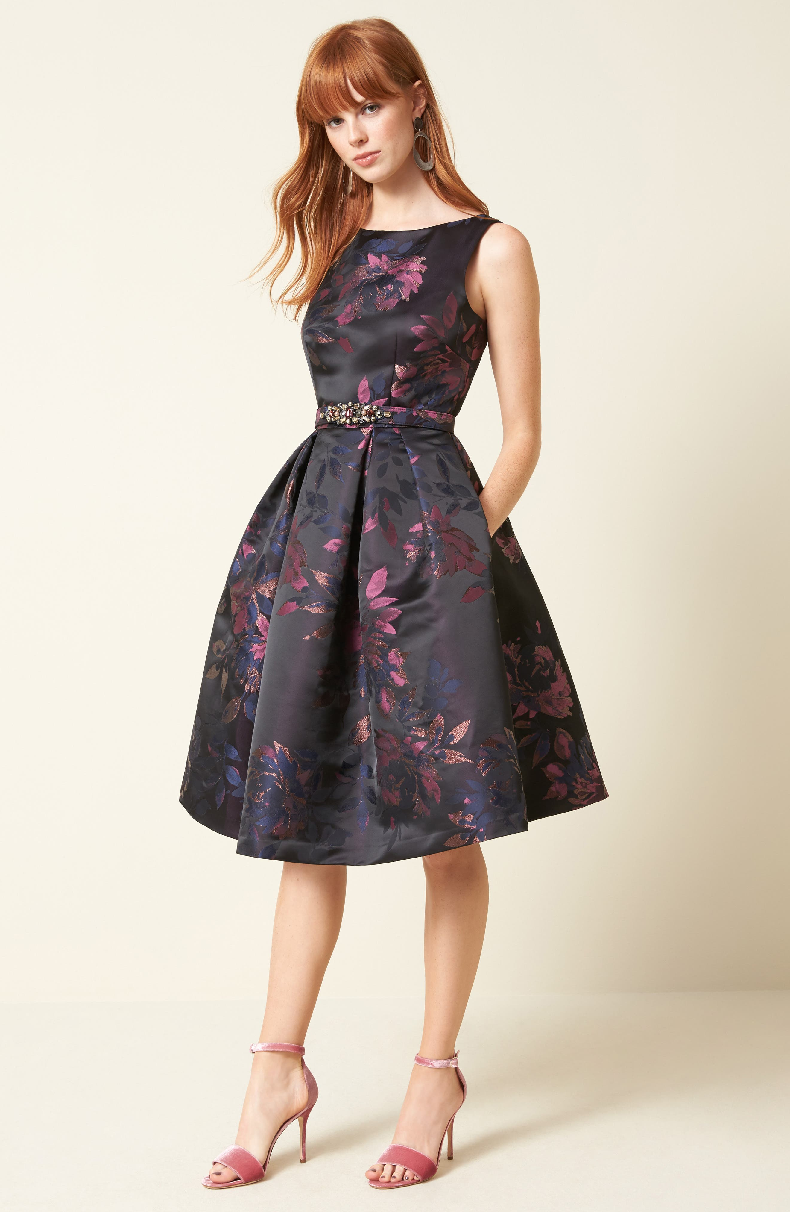 Brocade Fit & Flare Dress,                             Alternate thumbnail 2, color,                             Navy/ Pink