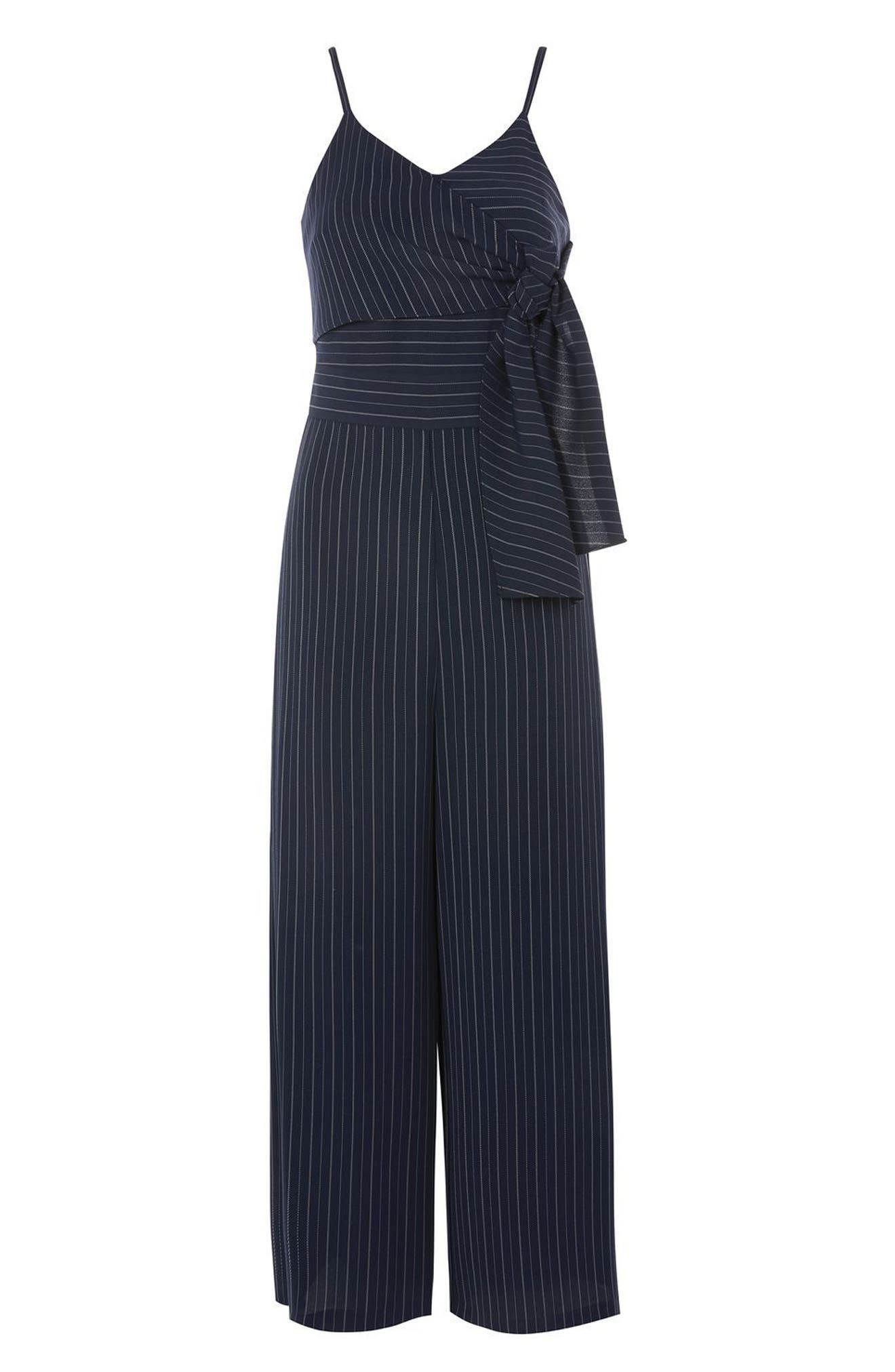Pinstripe Tie Waist Jumpsuit,                             Alternate thumbnail 4, color,                             Navy Blue