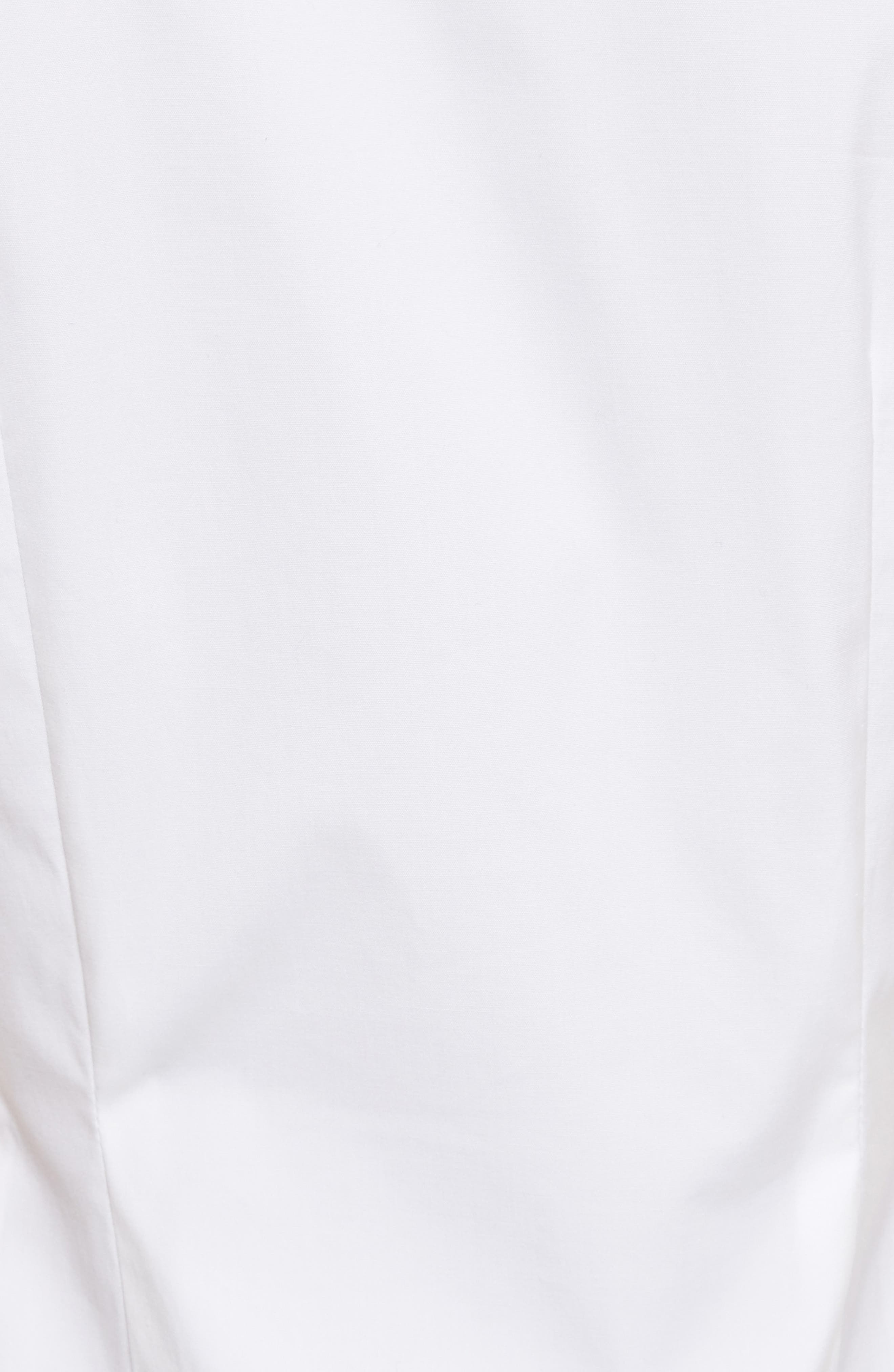 Ruched Fitted Stretch Cotton Blouse,                             Alternate thumbnail 5, color,                             White