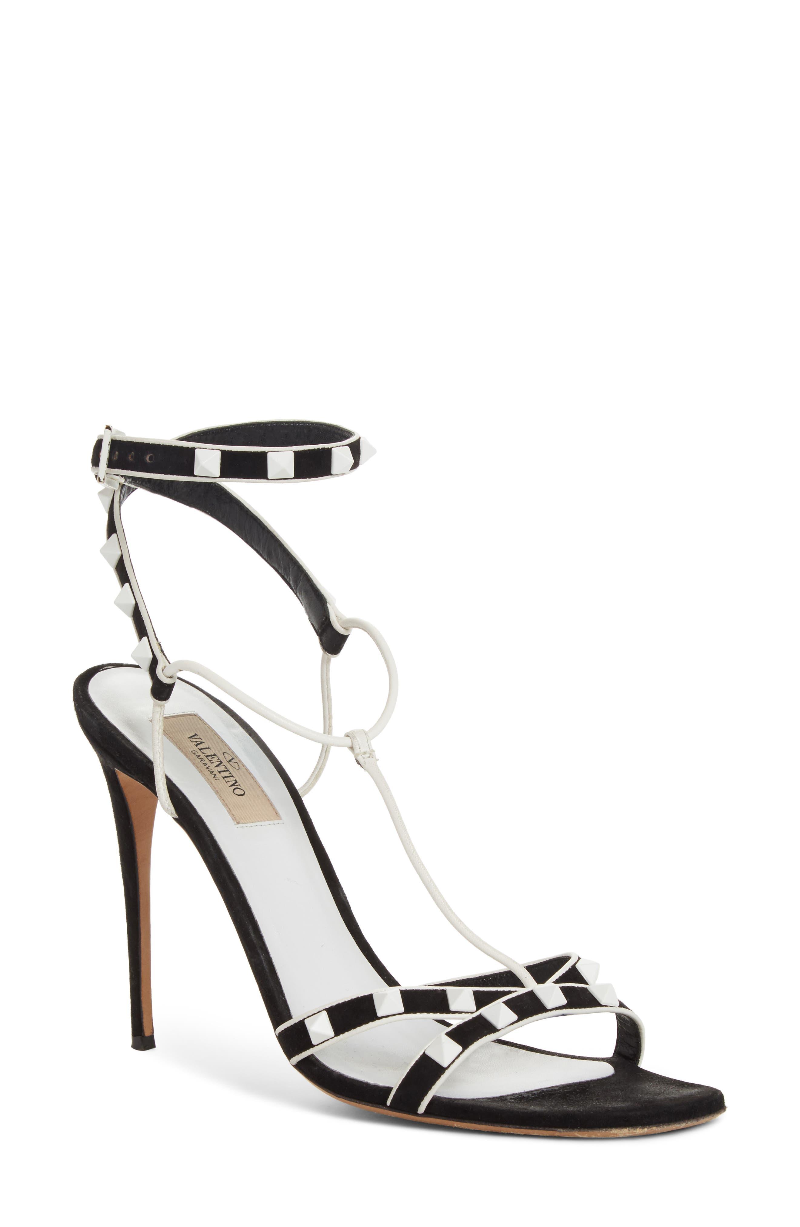 Valentino Free Rockstud T-Strap Sandal,                             Main thumbnail 1, color,                             Black/ White