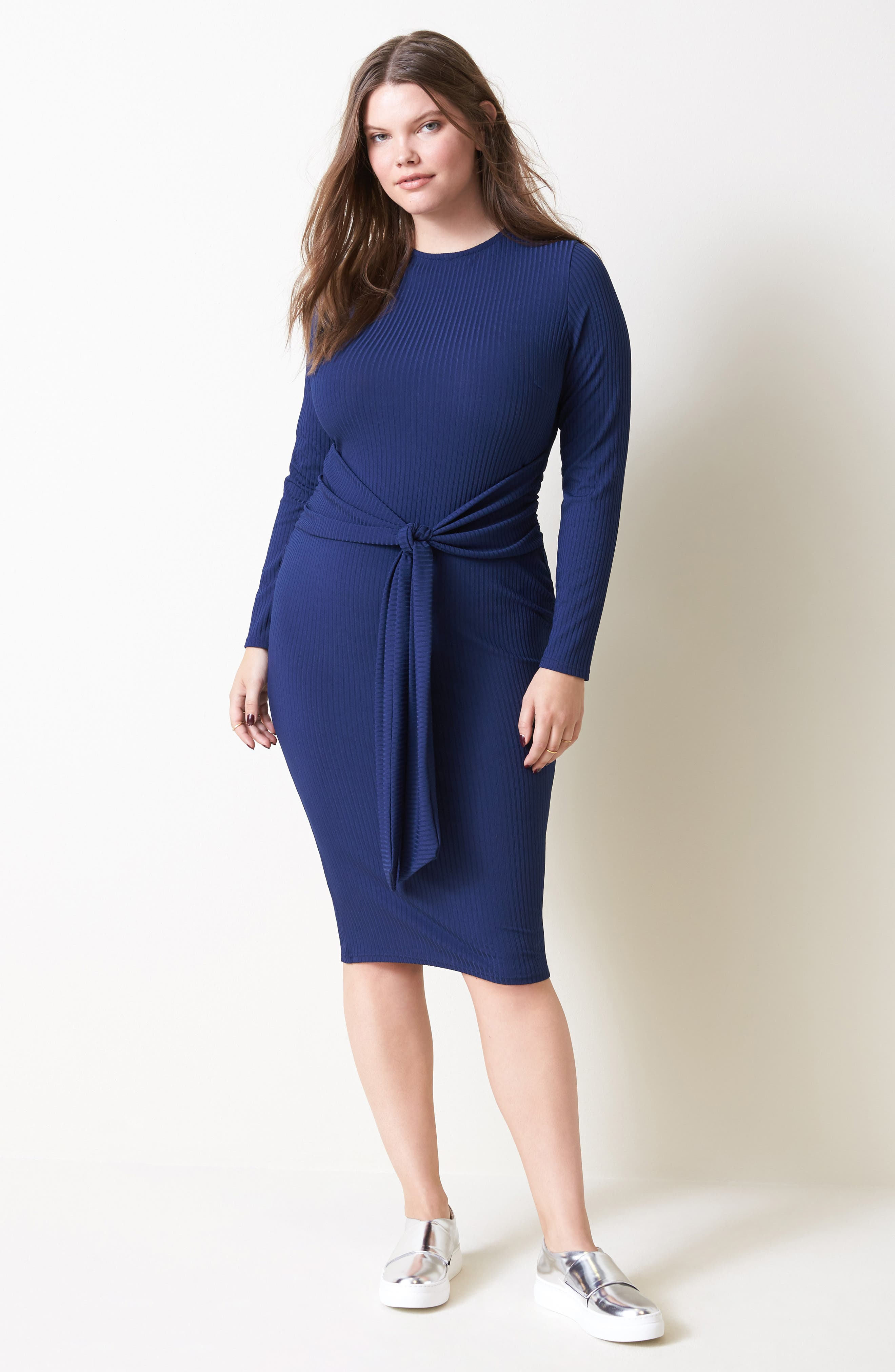 Tie Front Ribbed Sheath Dress,                             Alternate thumbnail 2, color,                             Navy