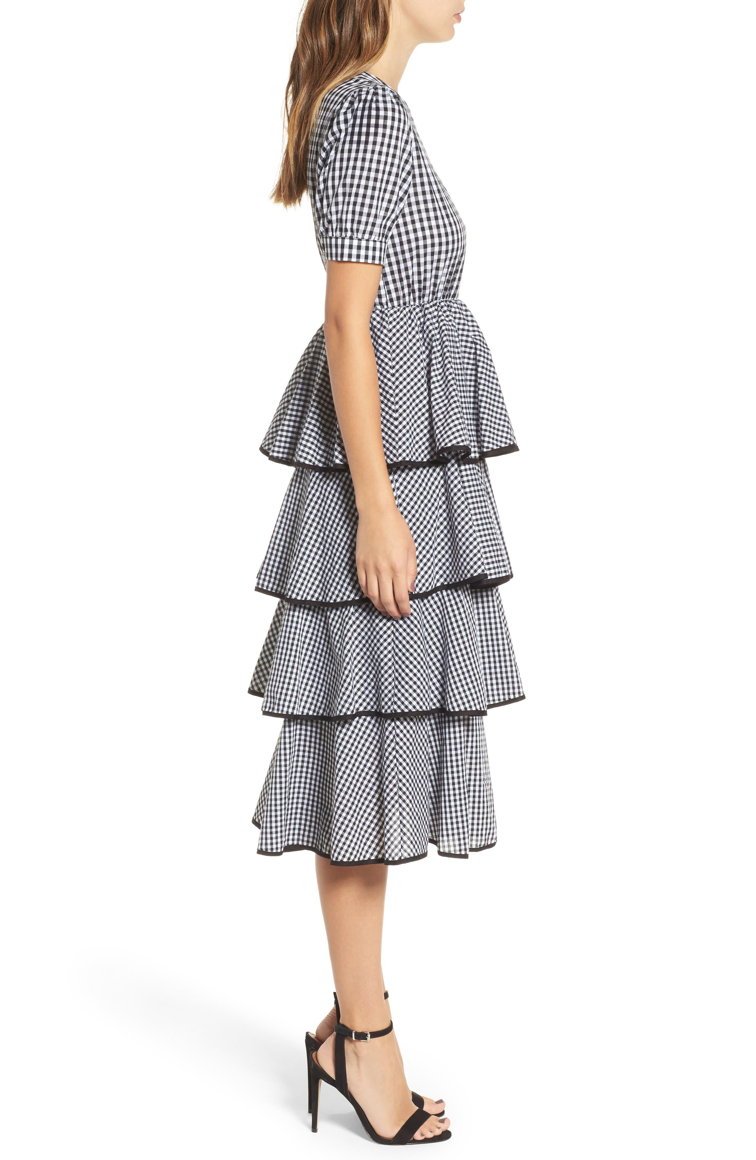 Beauty Buzz Midi Dress,                             Alternate thumbnail 3, color,                             Checkered Black