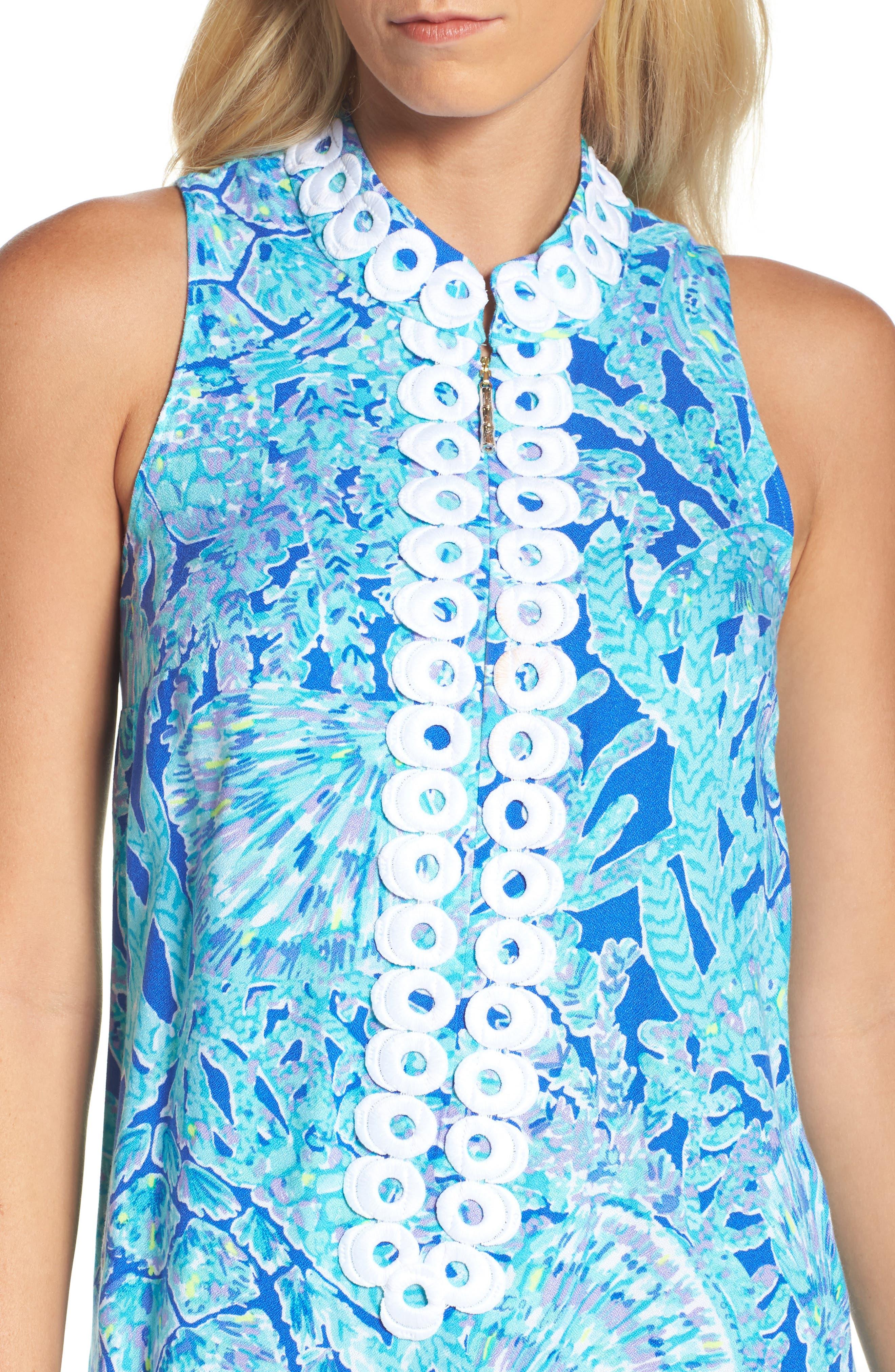 Jane Shift Dress,                             Alternate thumbnail 4, color,                             Capri Teal Tortuga Time