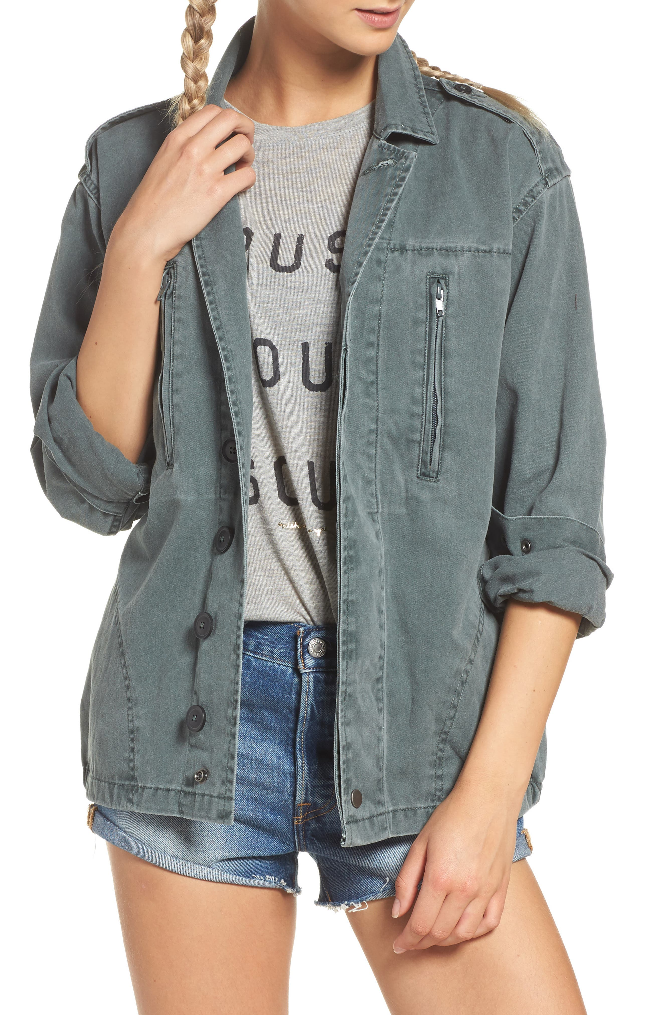 Stay Wild Gypsy Child Amy Jacket,                             Main thumbnail 1, color,                             Army
