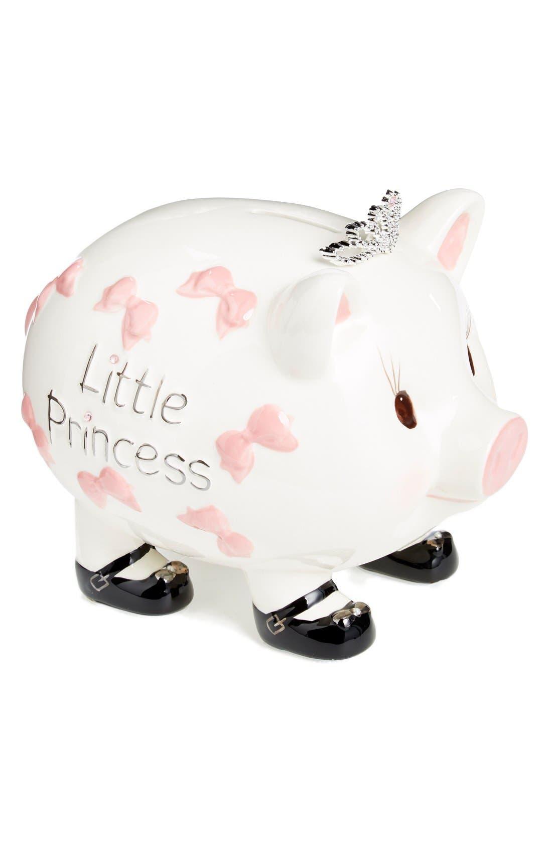 Ceramic Piggy Bank,                         Main,                         color, Pink/ Ivory