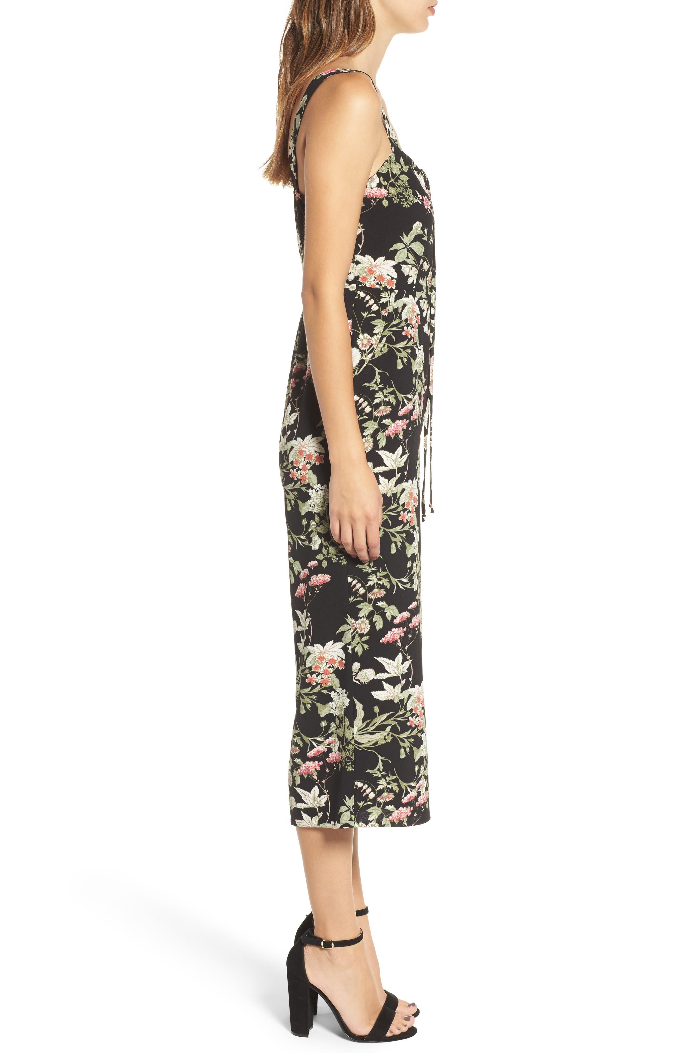 Print Wide Leg Jumpsuit,                             Alternate thumbnail 3, color,                             Black Floral