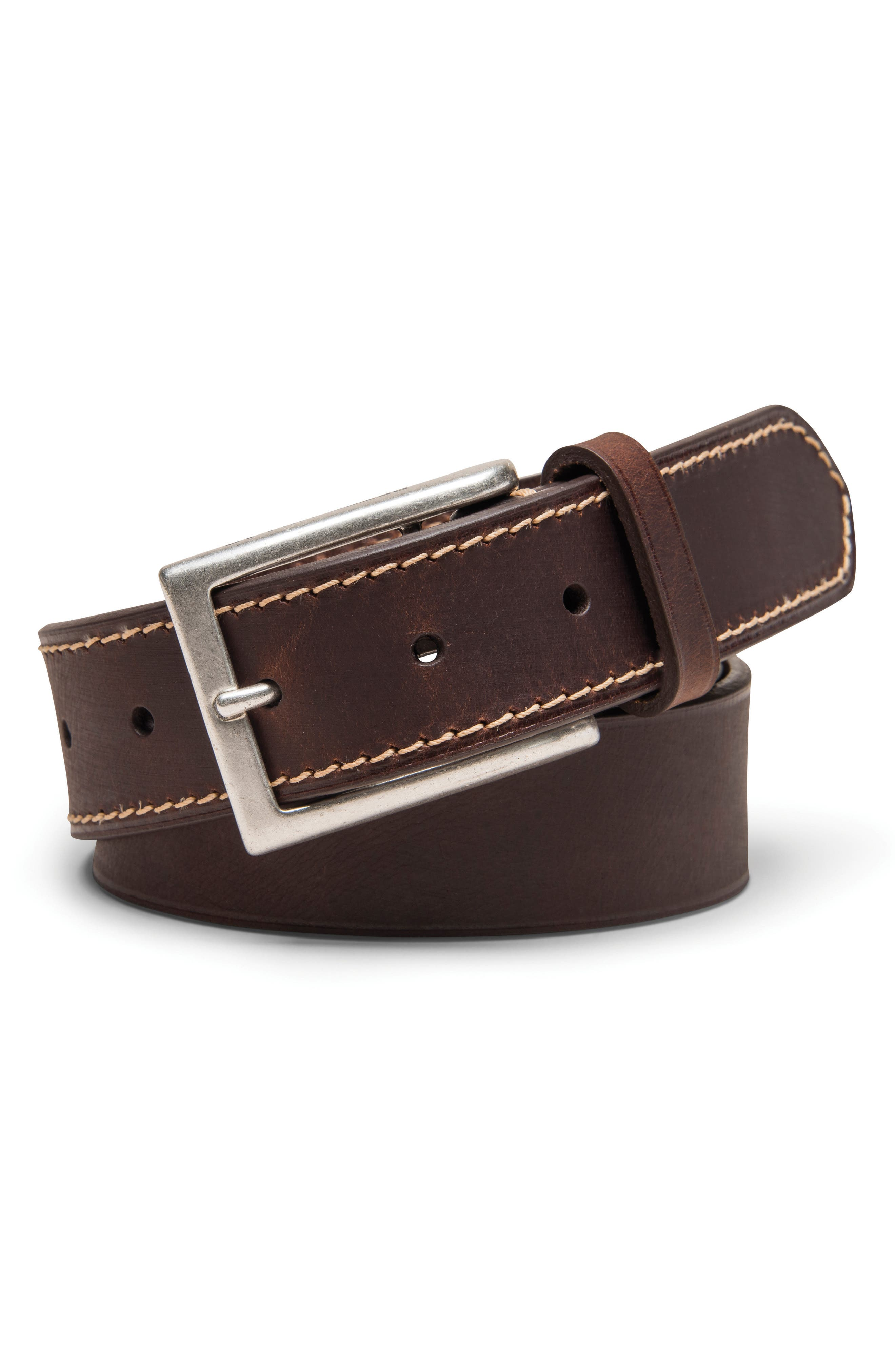 Contrast Stitch Leather Belt,                             Main thumbnail 1, color,                             Chocolate