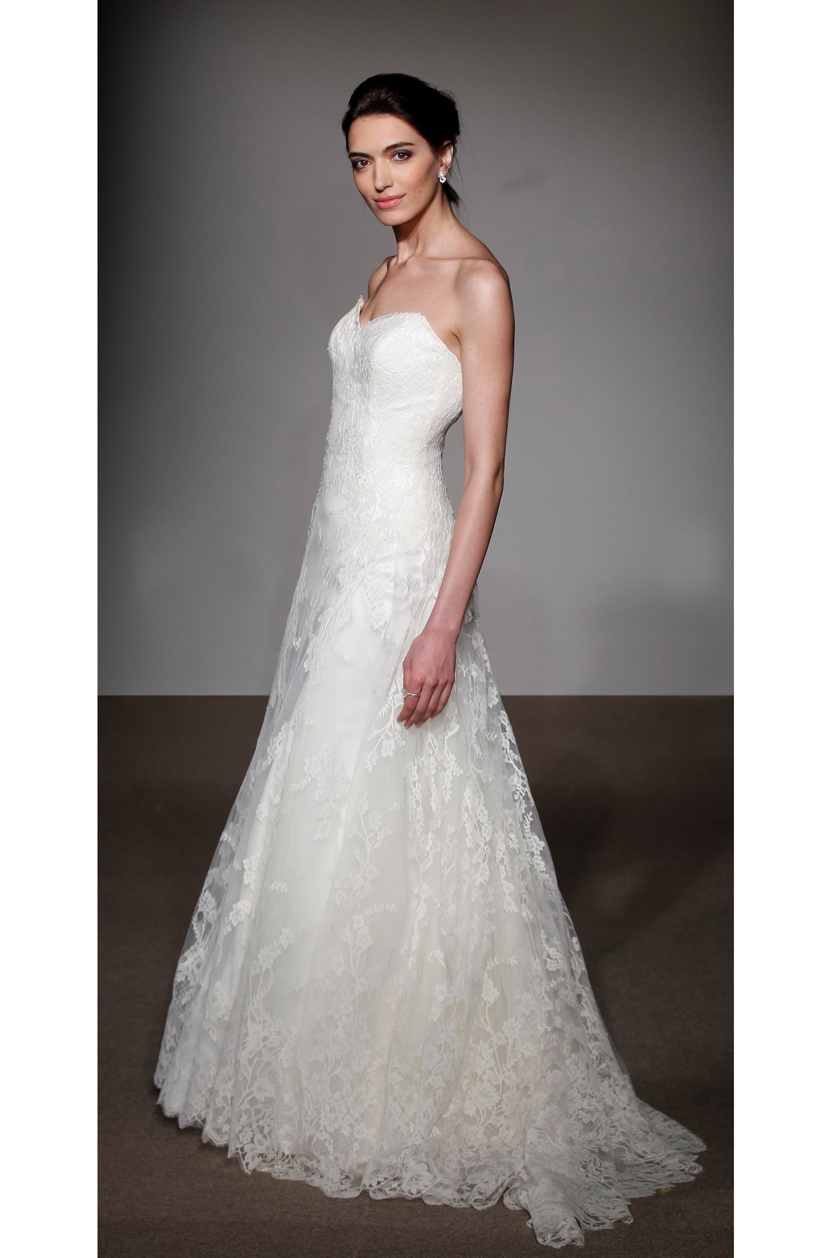 Alternate Image 3  - Anna Maier Couture Liliane Strapless Lace Gown (Regular & Plus Size)