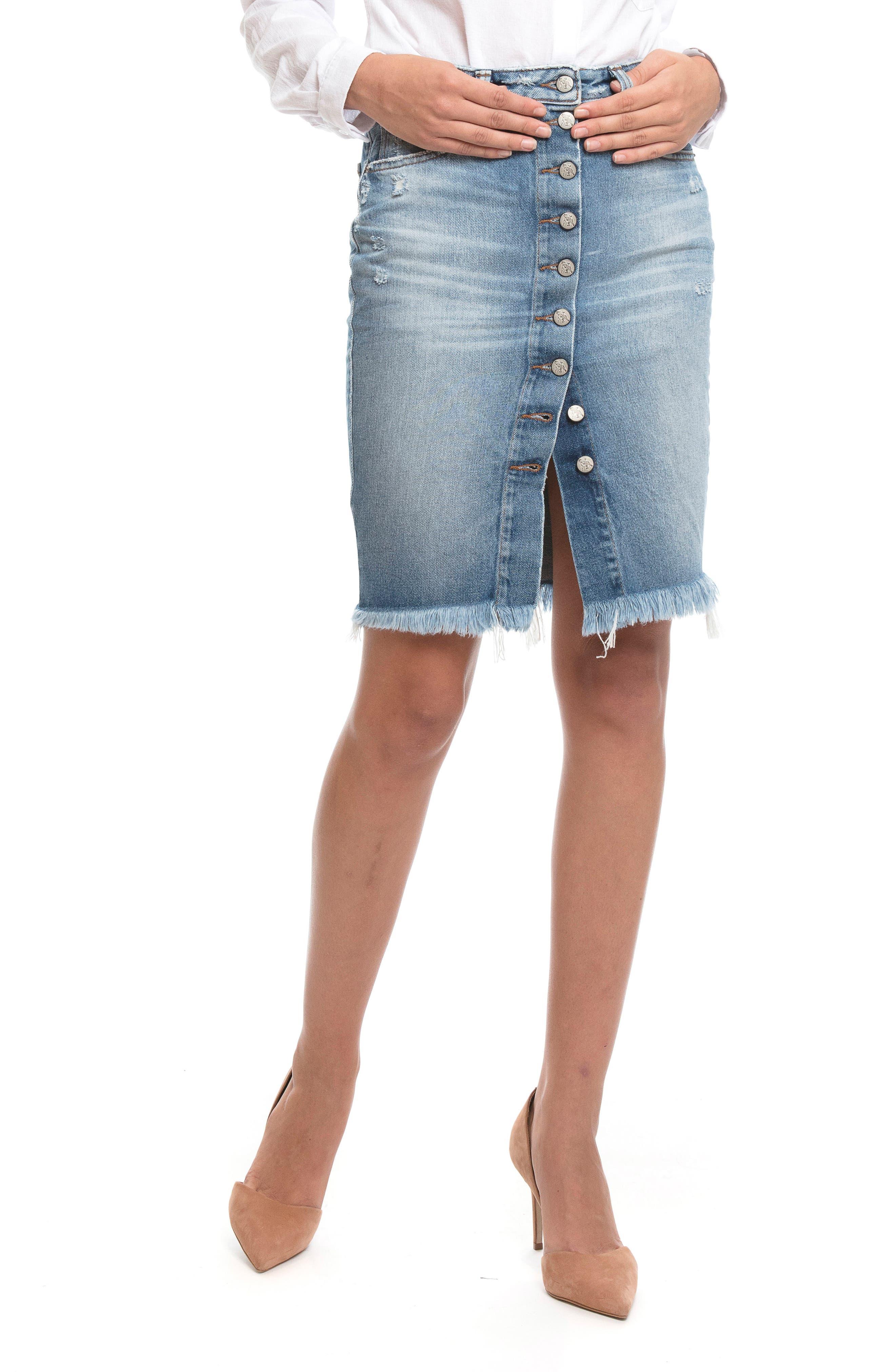 Button Down Denim Pencil Skirt,                             Alternate thumbnail 5, color,                             Vintage Blue