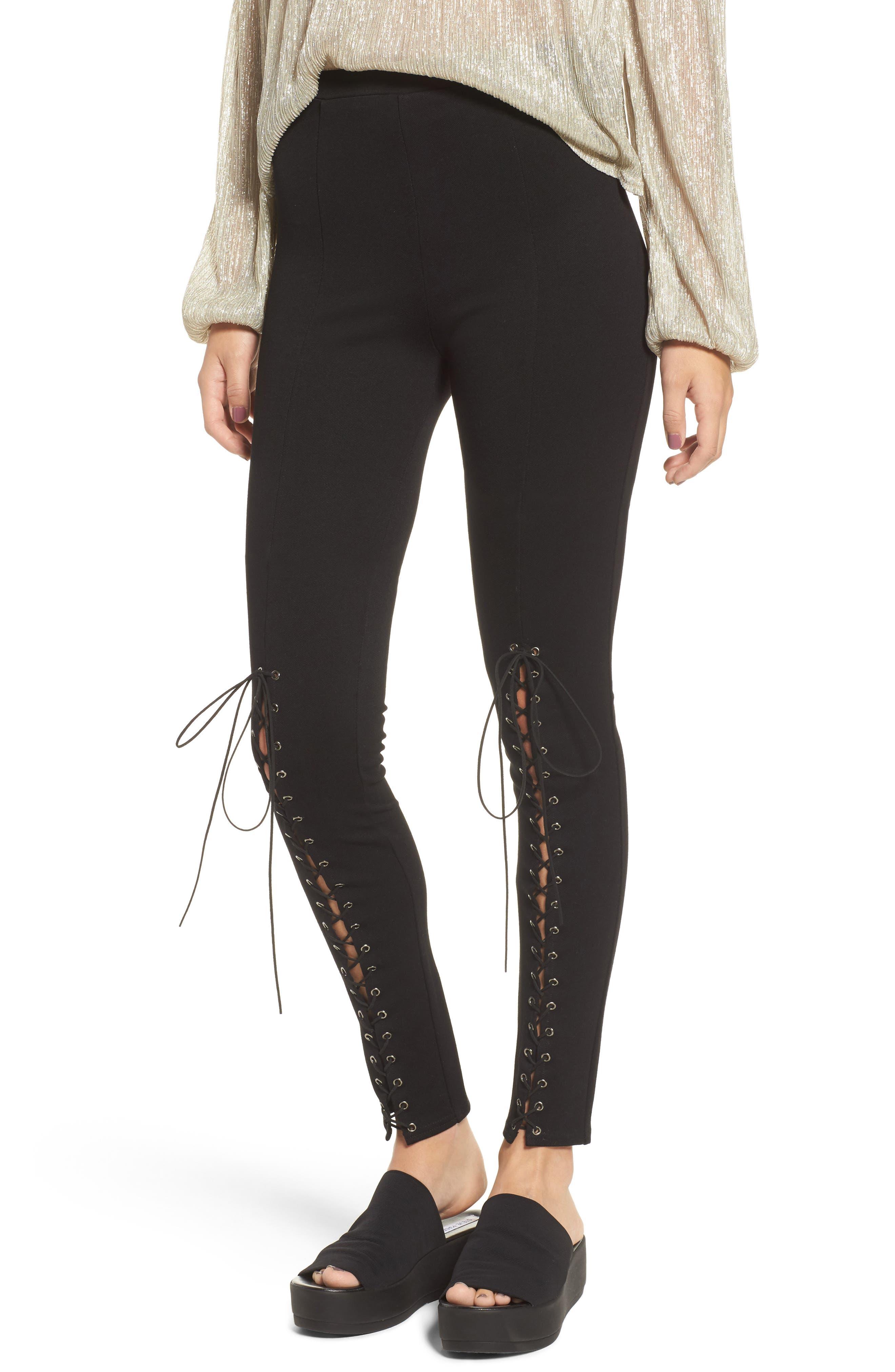 Lace-Up Pants,                         Main,                         color, Black