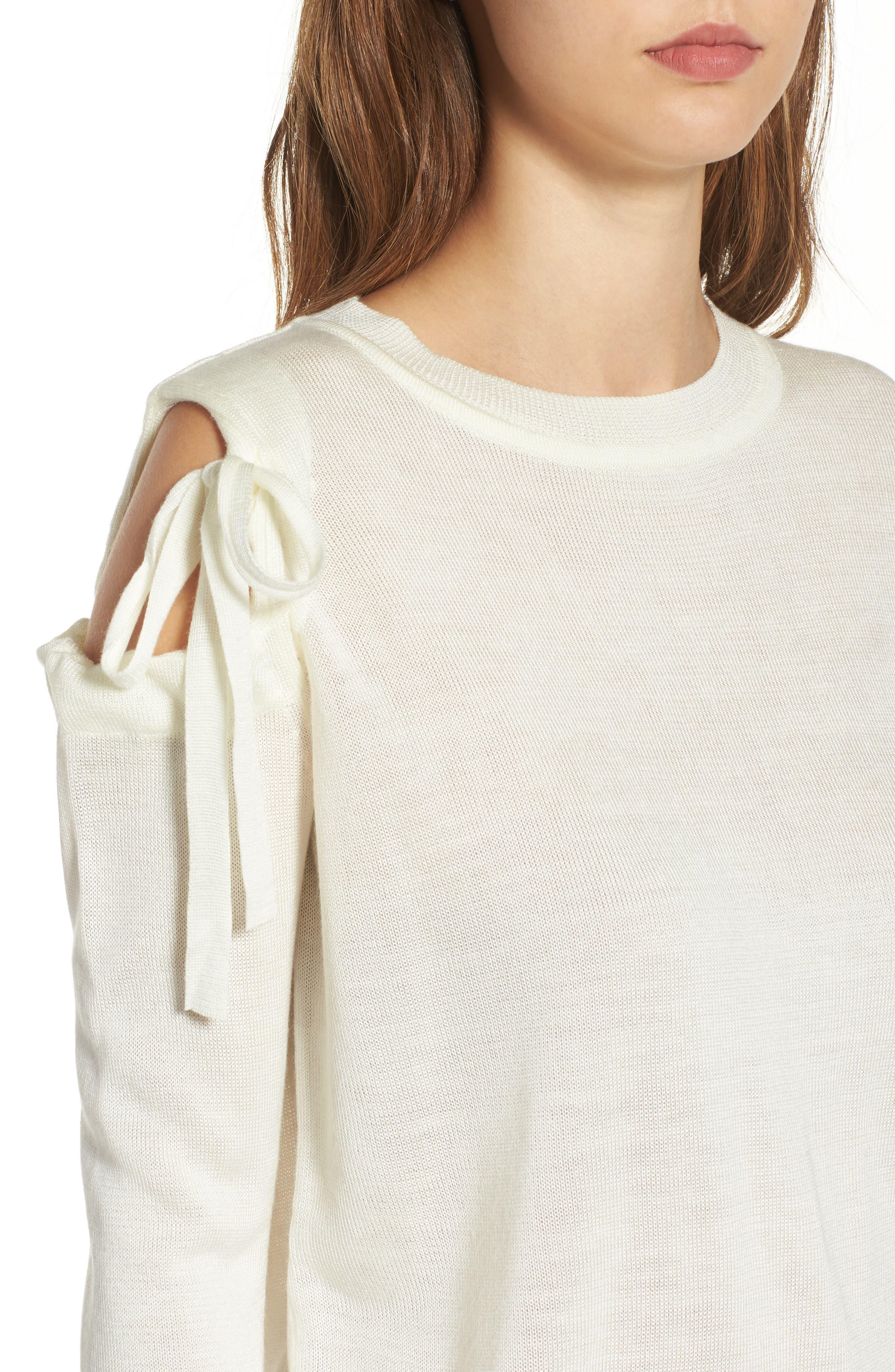Cutout Sweatshirt,                             Alternate thumbnail 4, color,                             White
