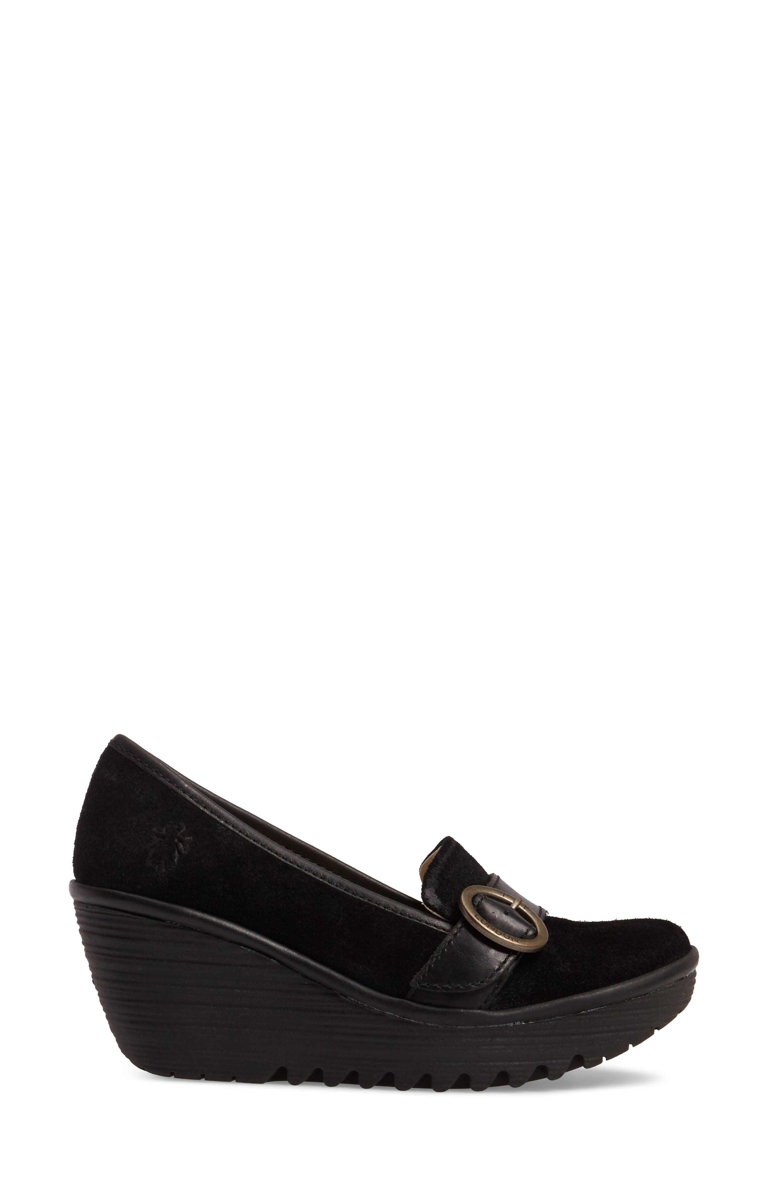 Yond Wedge,                             Alternate thumbnail 3, color,                             Black Suede