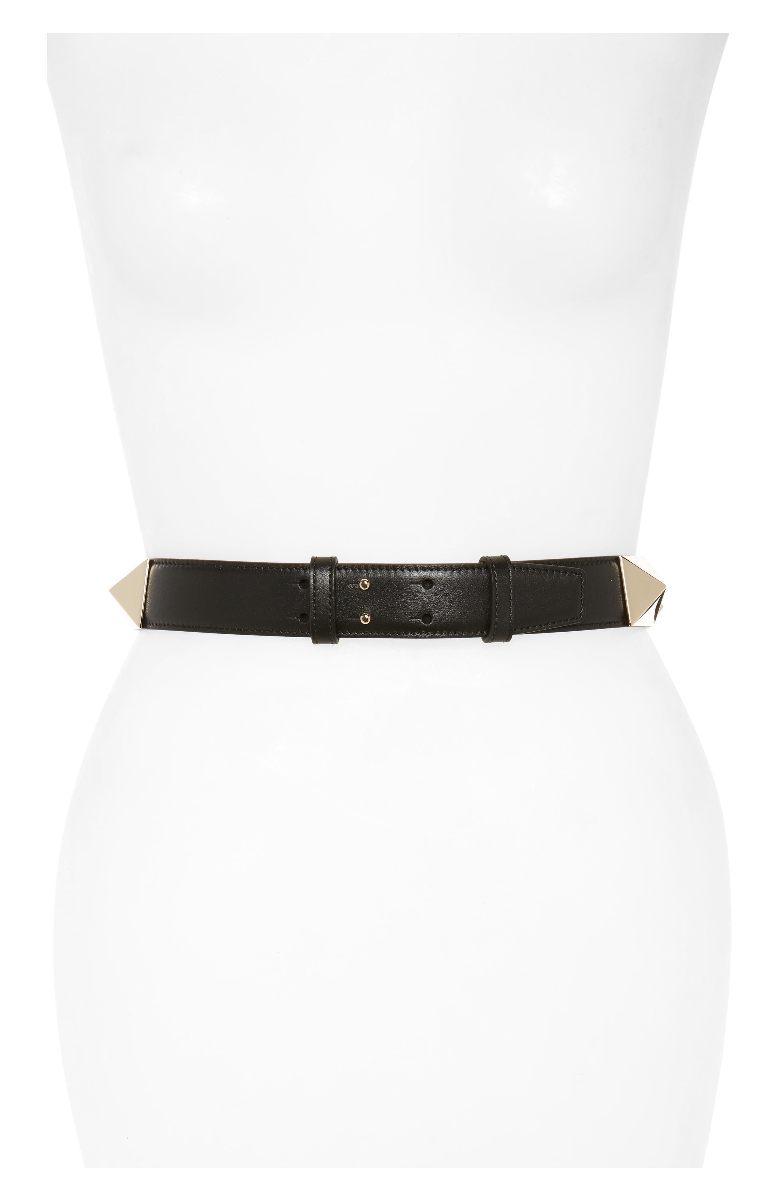 VALENTINO GARAVANI Lovestud Calfskin Leather Belt