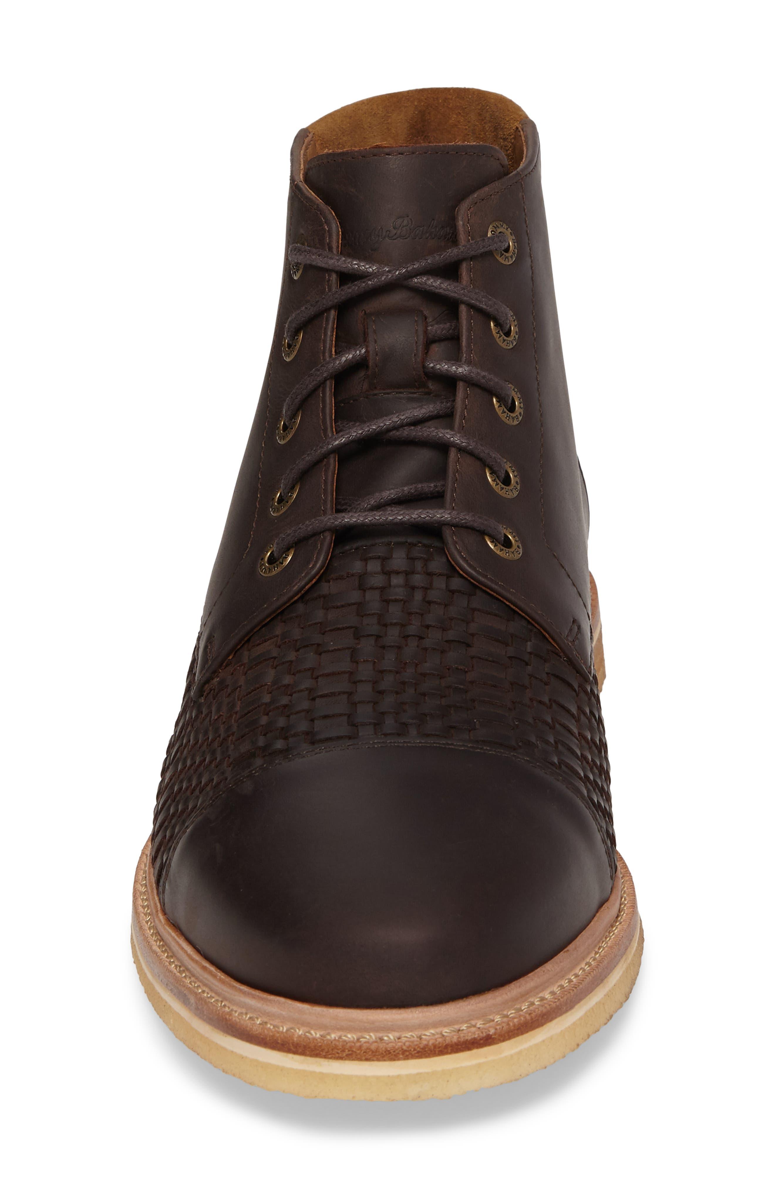 Argon Blooms Cap Toe Boot,                             Alternate thumbnail 4, color,                             Brown Leather