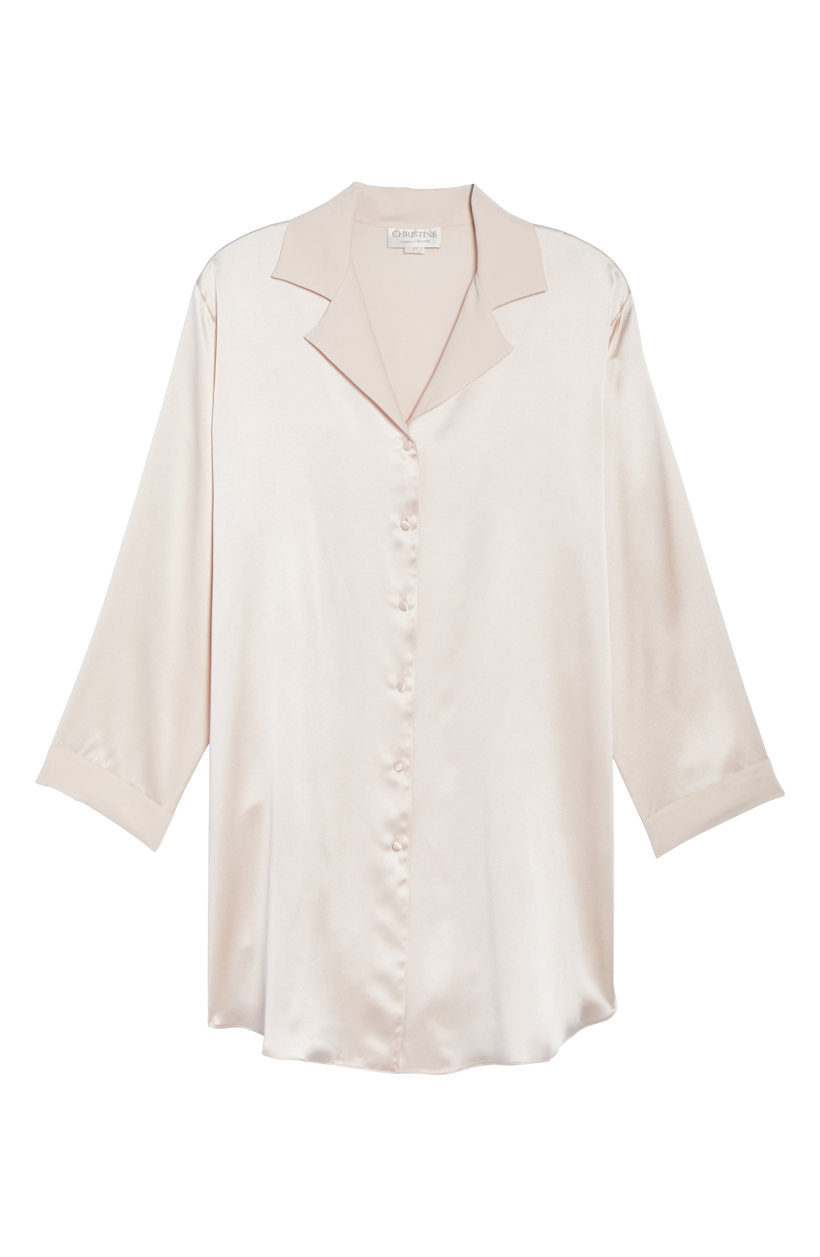 Alternate Image 4  - Christine Silk Sleep Shirt