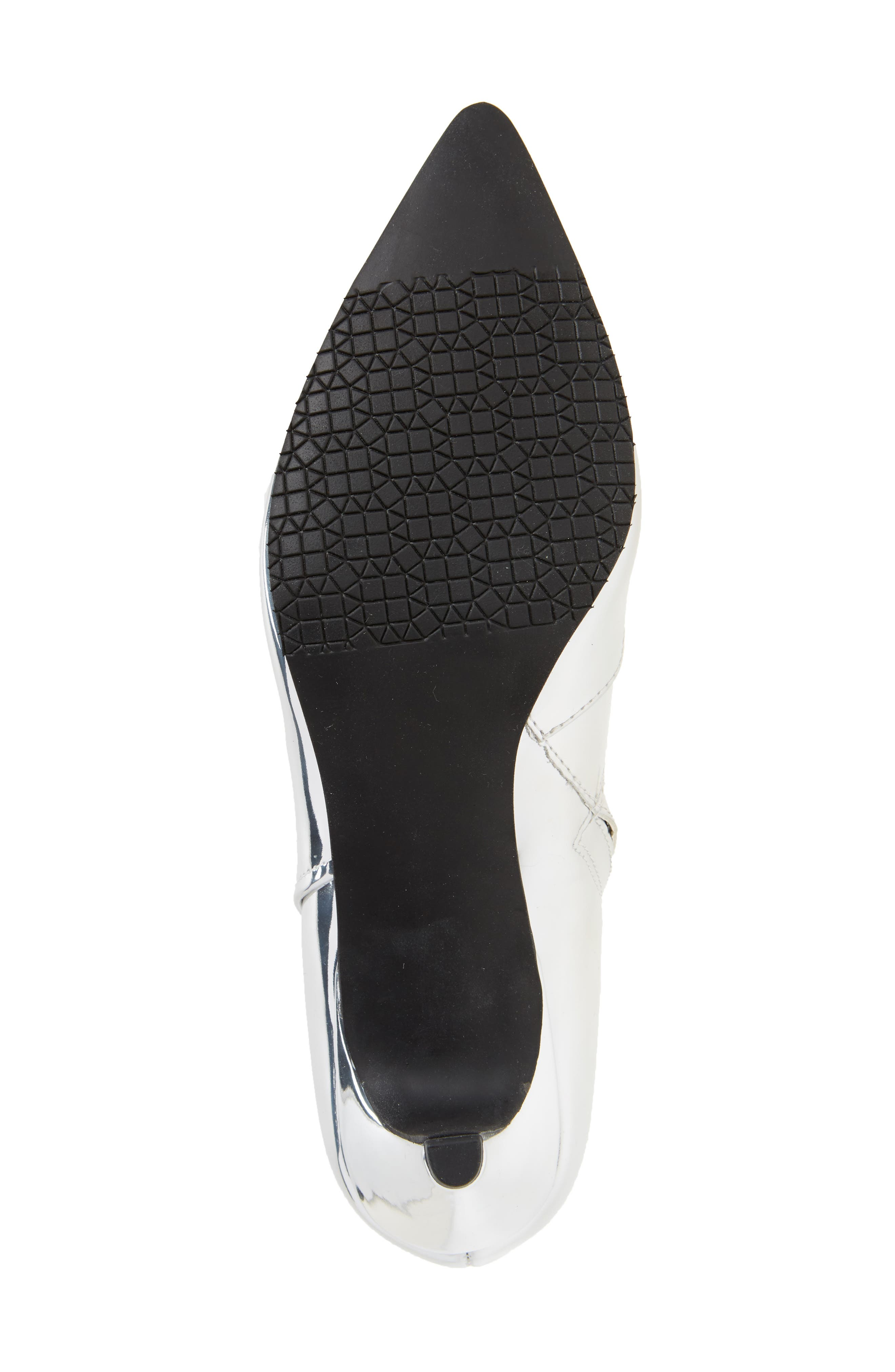 Major Pointy Toe Bootie,                             Alternate thumbnail 6, color,                             Silver Mirror Faux Leather