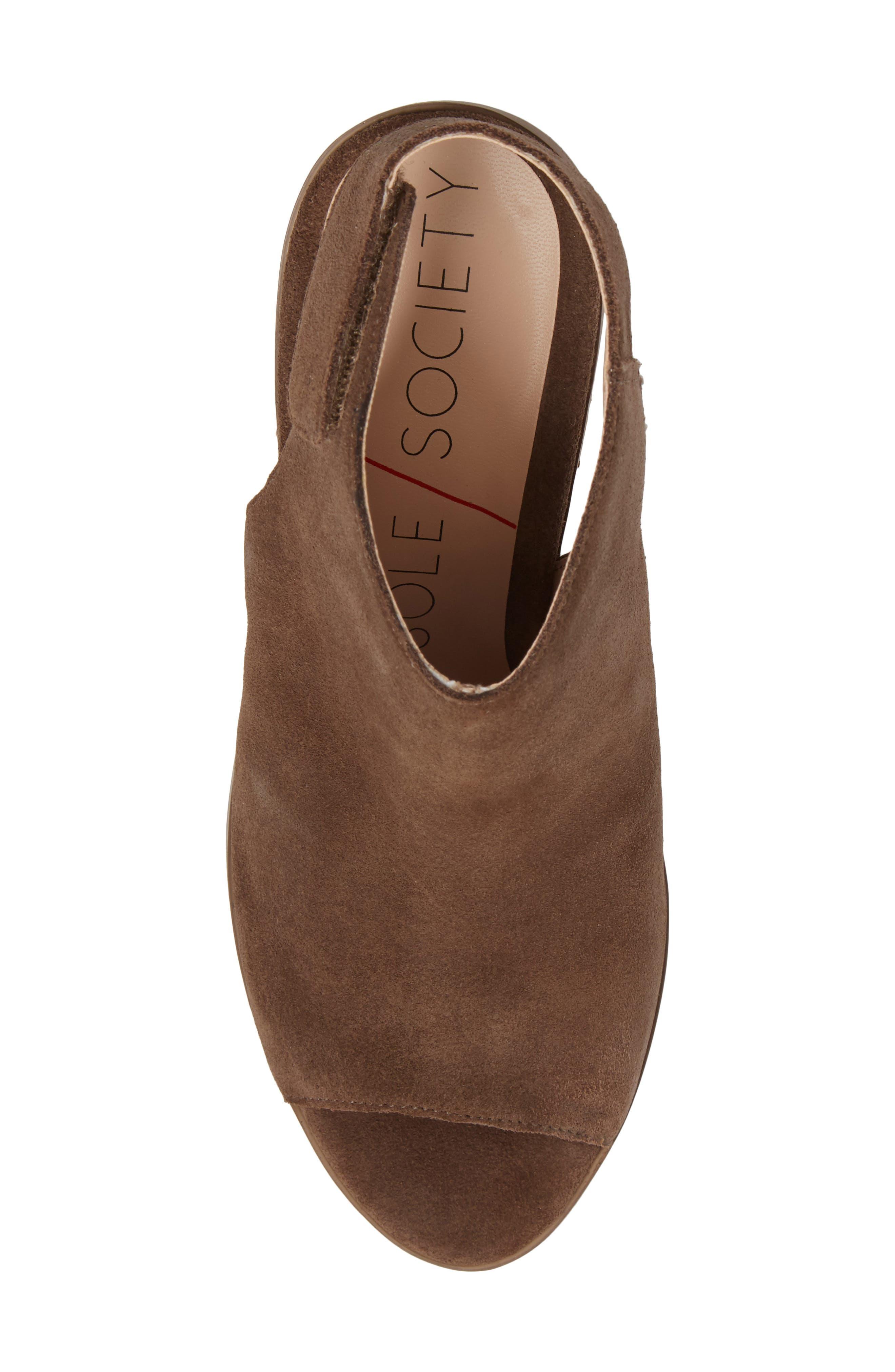 Peep Toe Sandal,                             Alternate thumbnail 5, color,                             Dark Taupe
