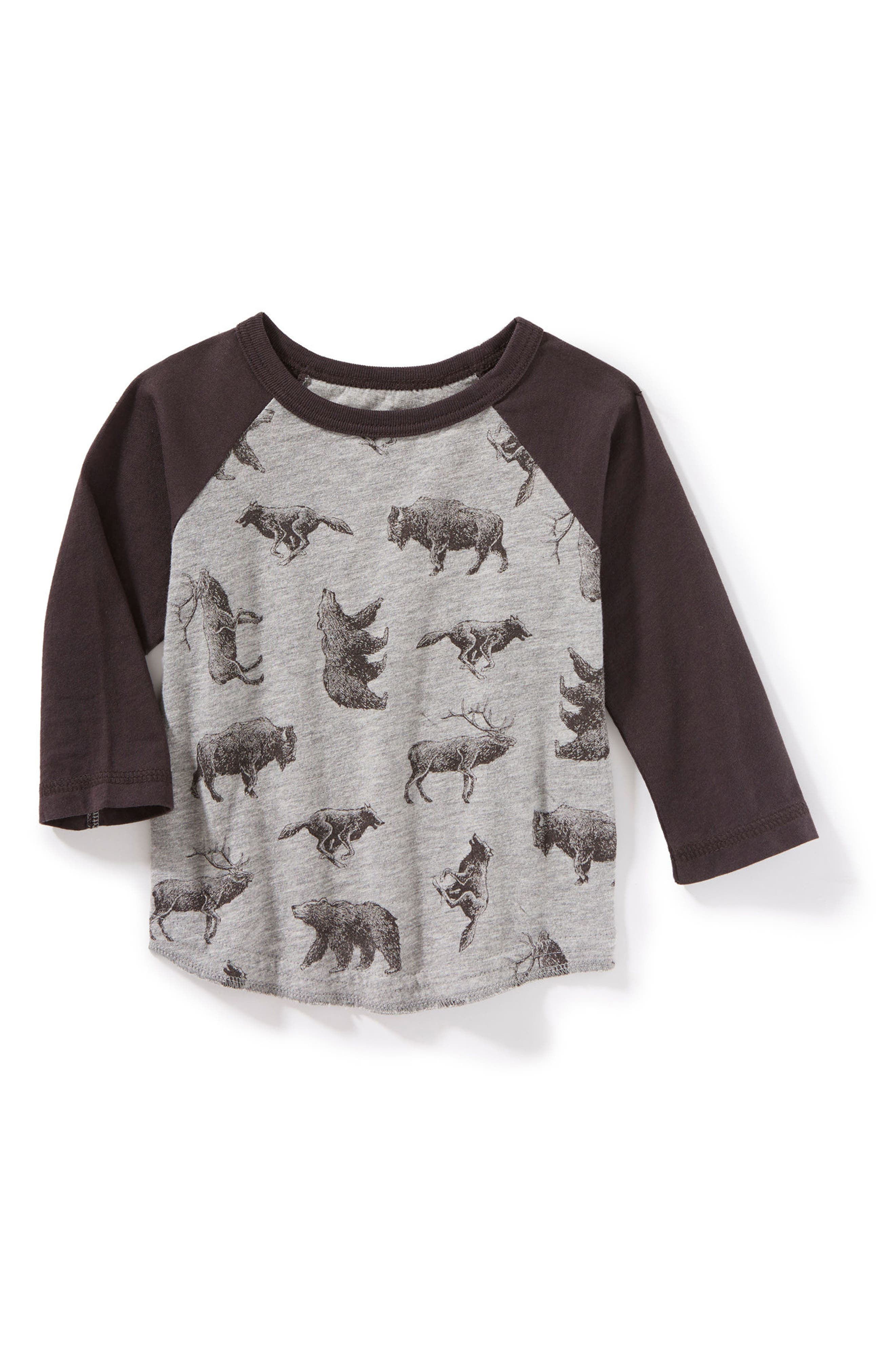 Allover Animal Print Raglan T-Shirt,                             Main thumbnail 1, color,                             Heather Grey