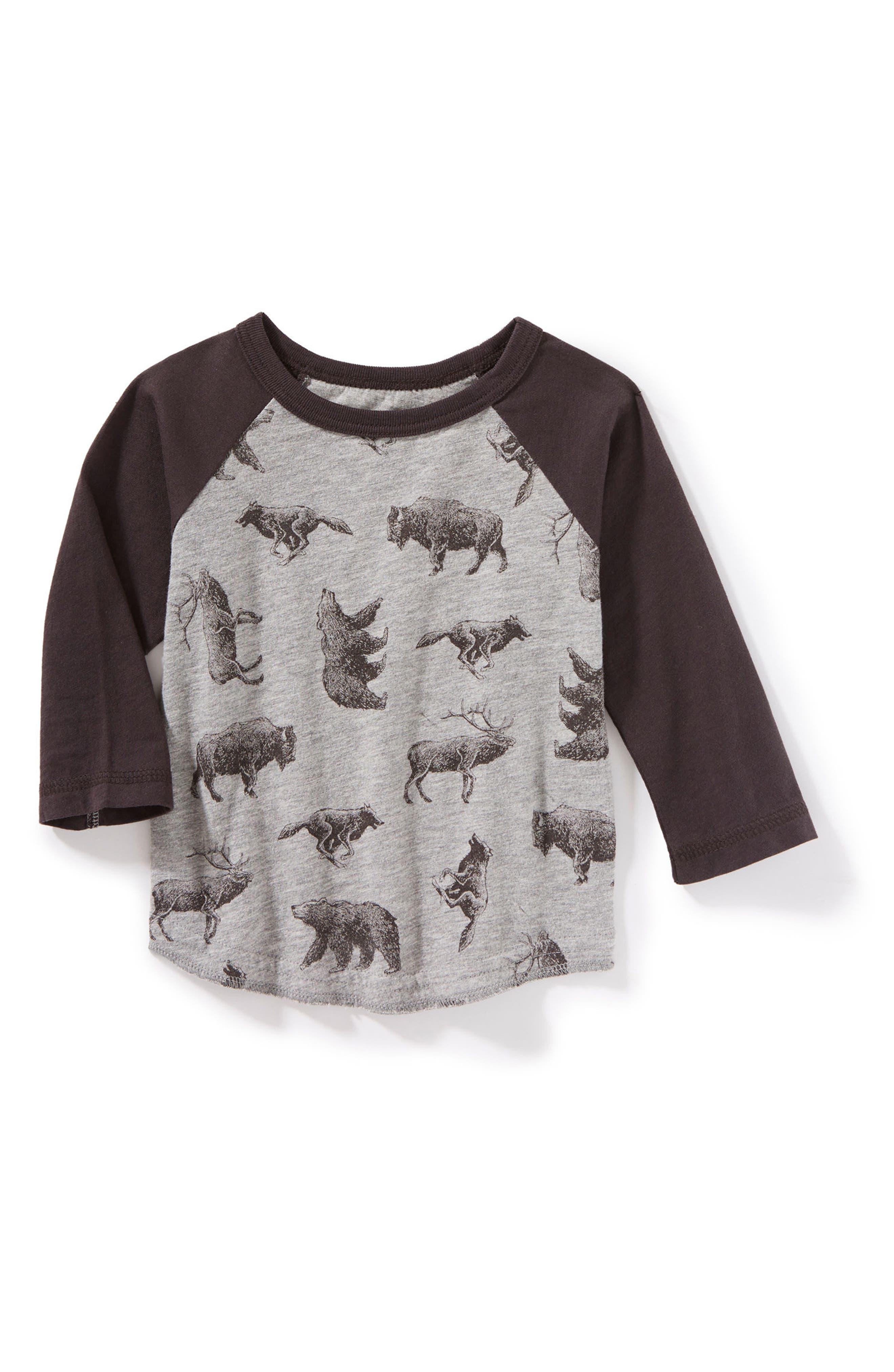 Allover Animal Print Raglan T-Shirt,                         Main,                         color, Heather Grey