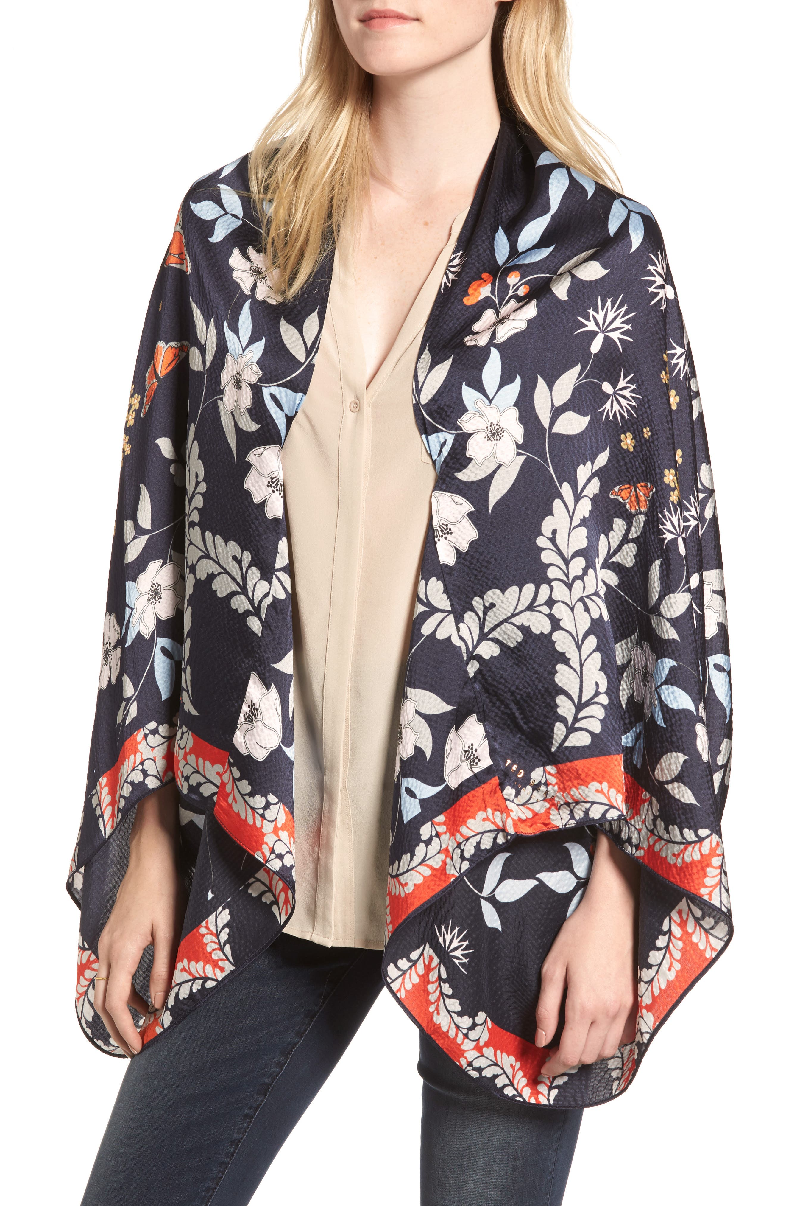 Ted Baker London Kyoto Gardens Silk Cape Scarf