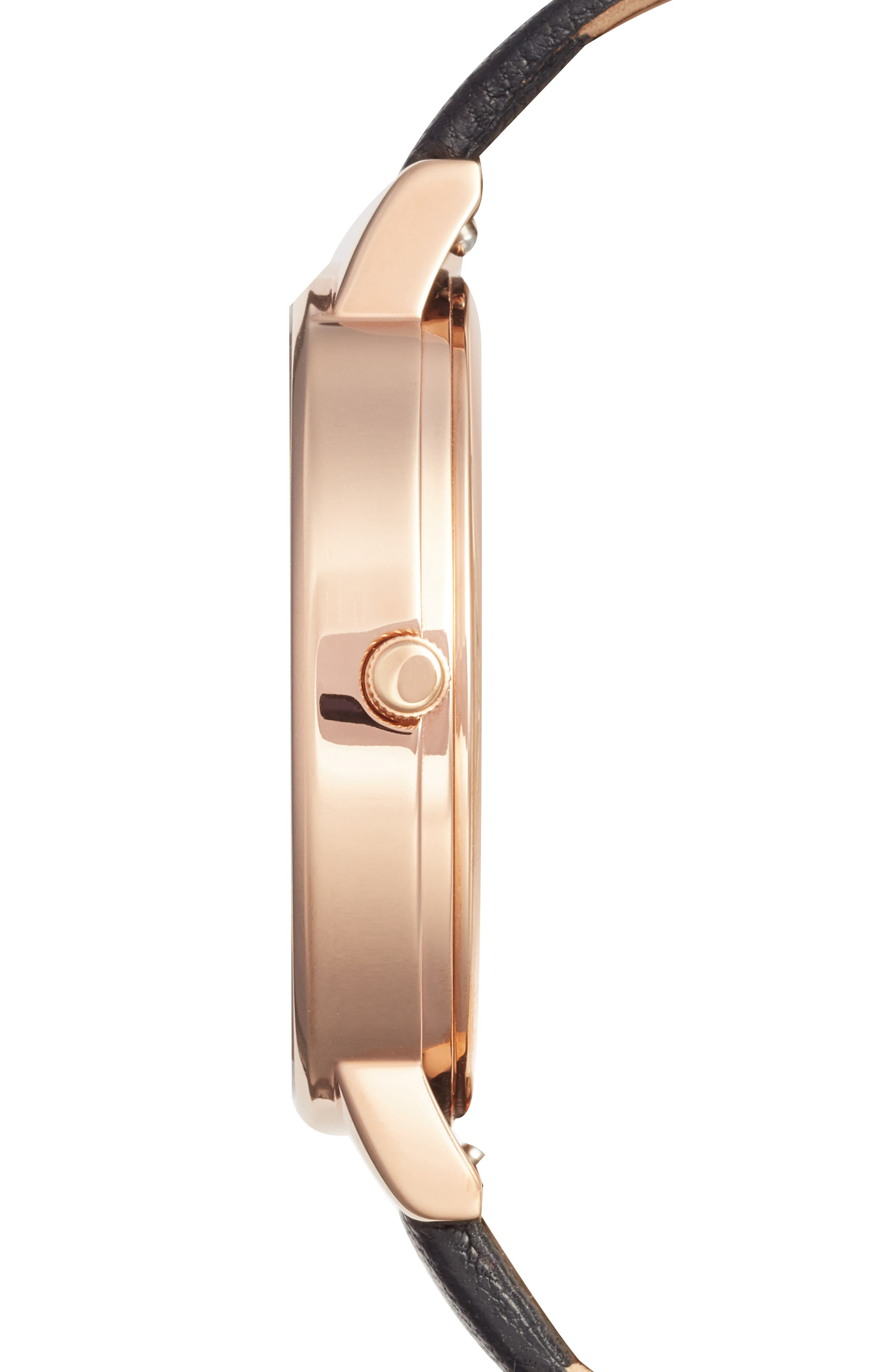 Alternate Image 3  - Olivia Burton Marble Floral Leather Strap Watch, 38mm