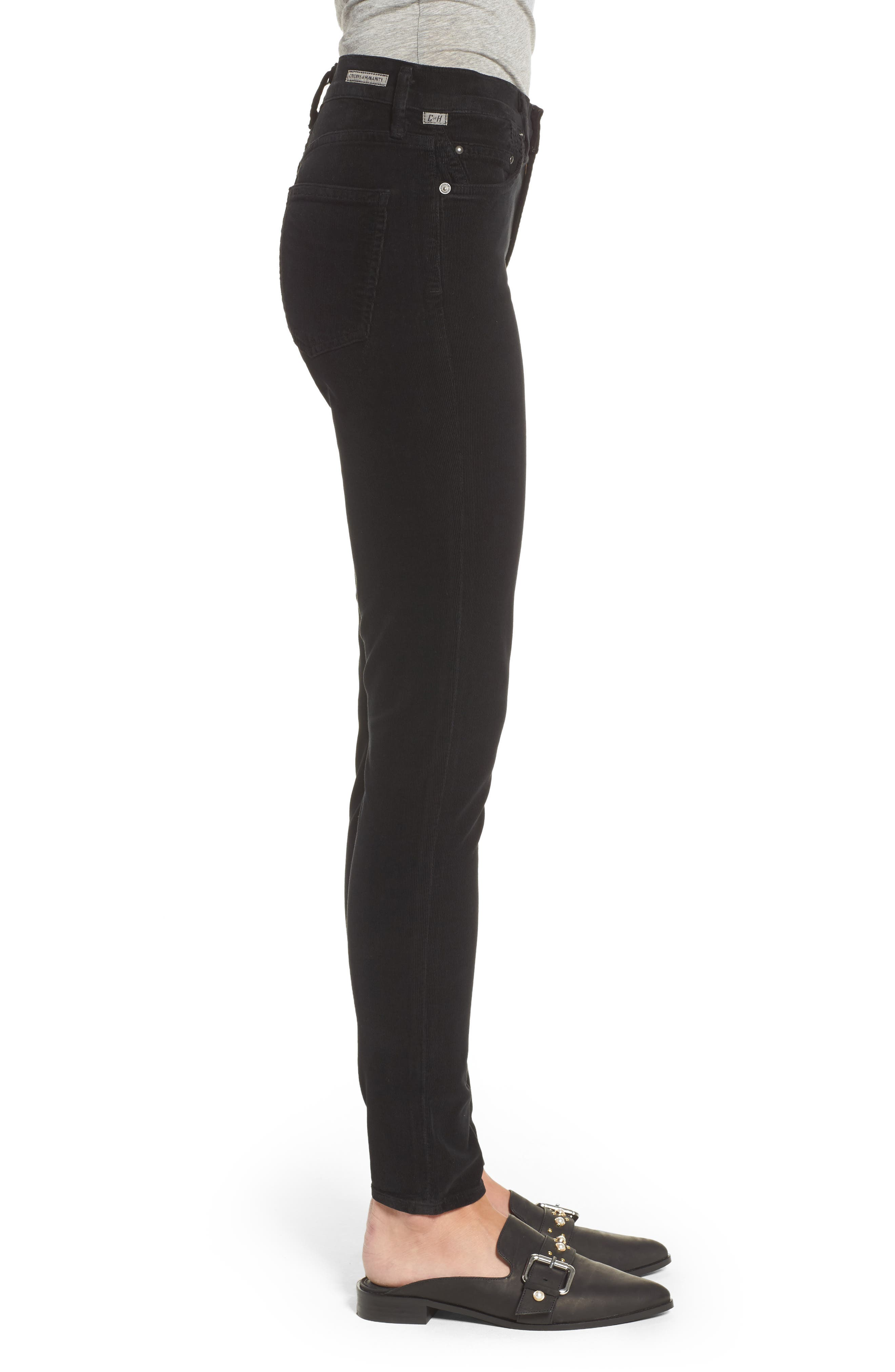 Rocket High Waist Skinny Corduroy Pants,                             Alternate thumbnail 3, color,                             Black Cord