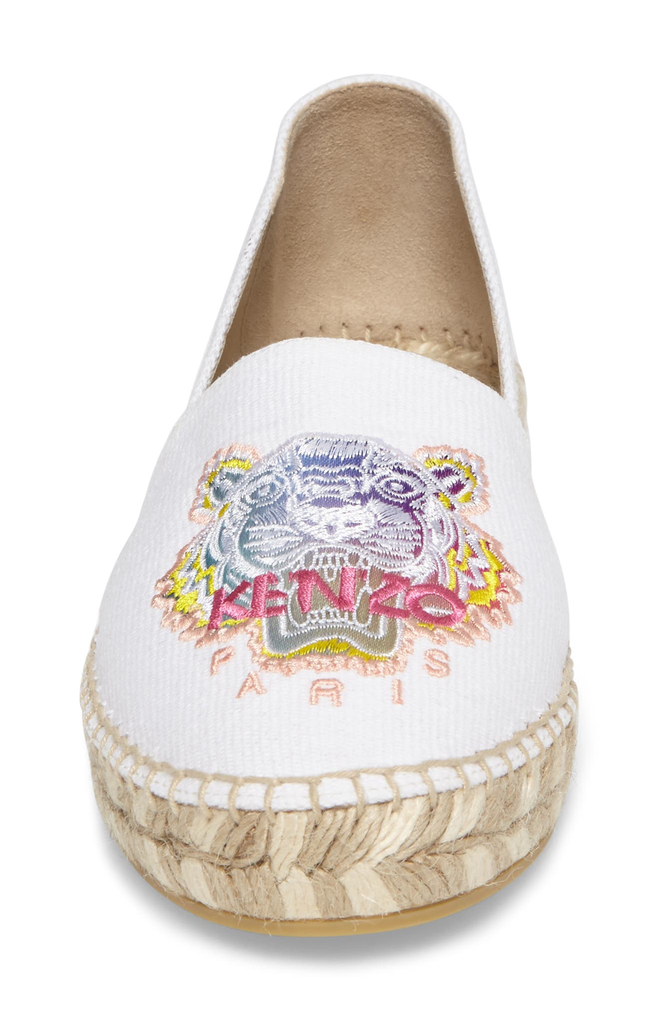 Rainbow Tiger Embroidered Espadrille,                             Alternate thumbnail 4, color,                             White