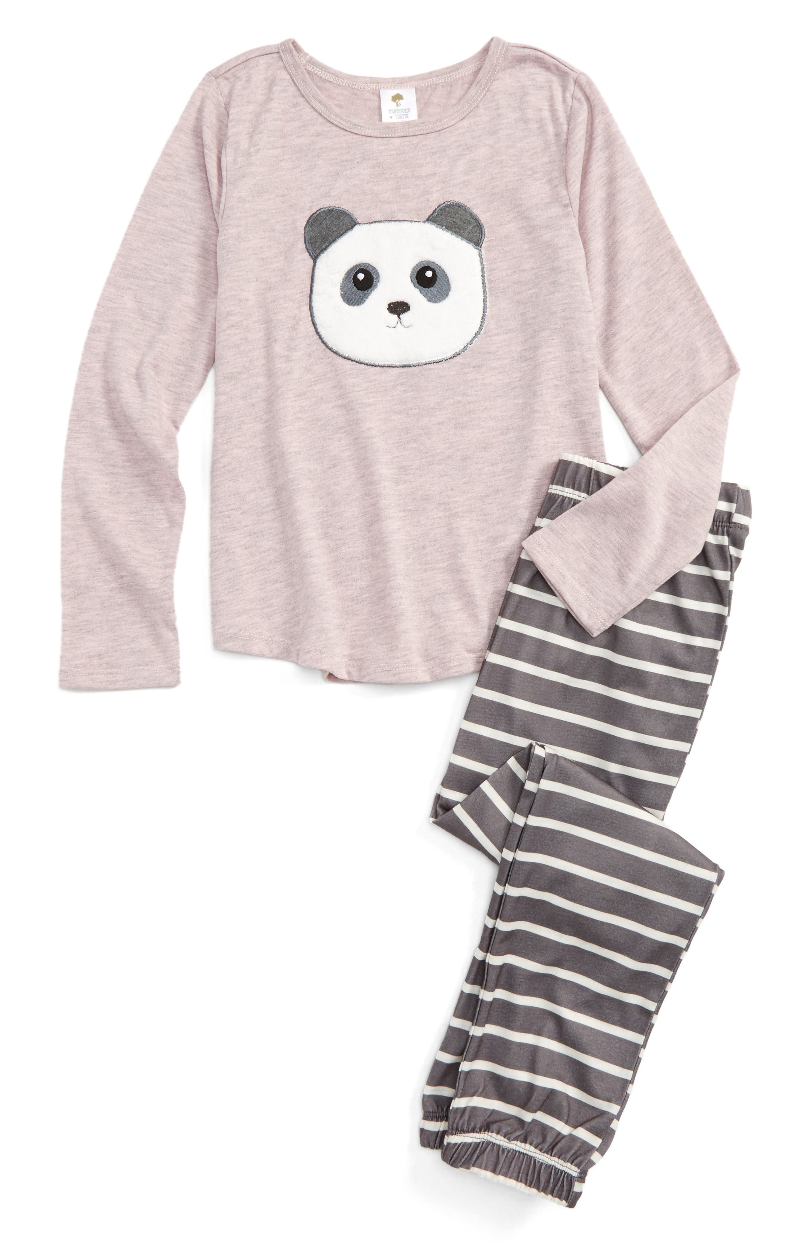 Appliqué Fitted Two-Piece Pajamas,                         Main,                         color, Pink Baby Heather Panda