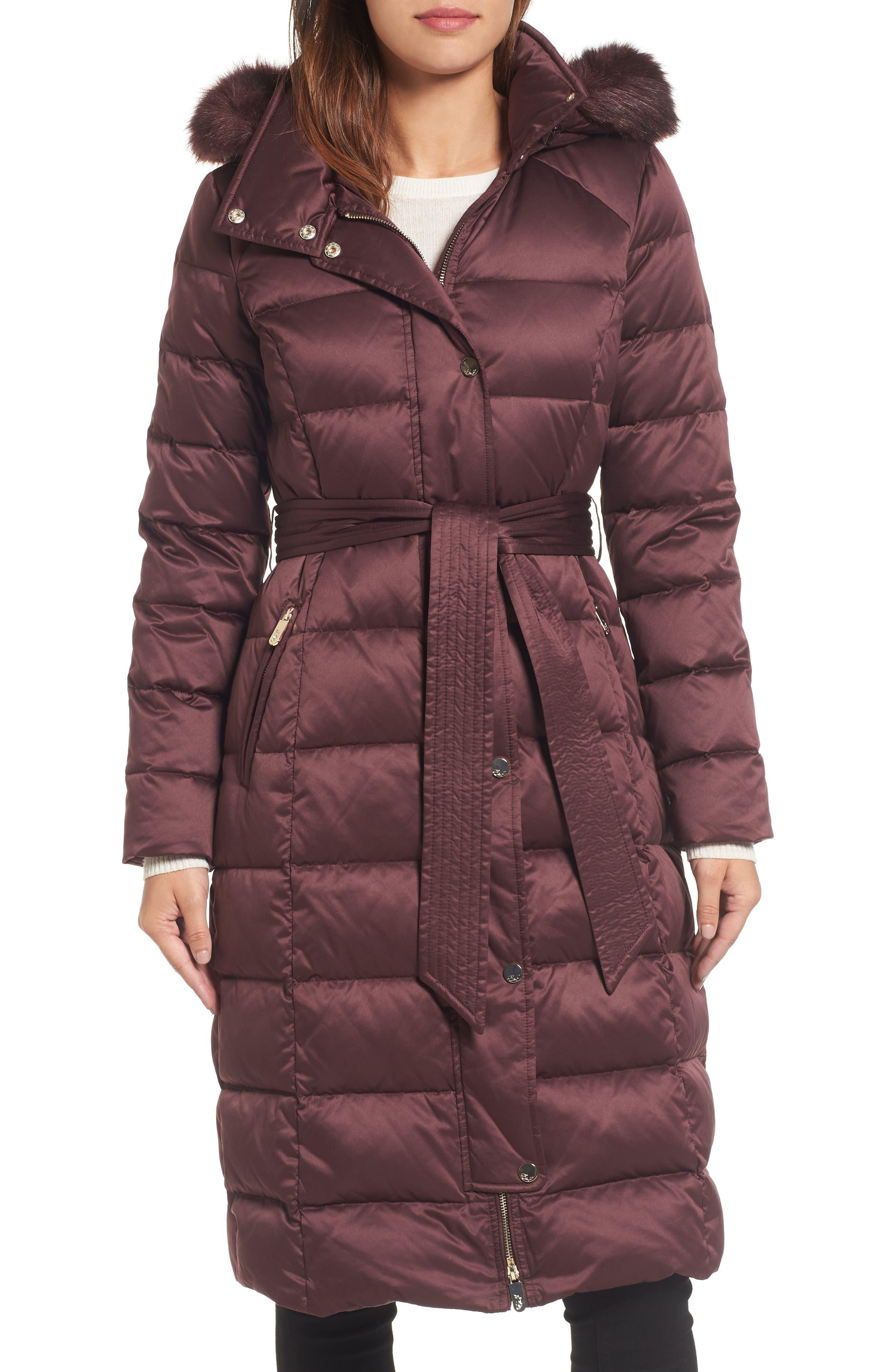 Eliza J Down Midi Coat with Faux Fur Trim