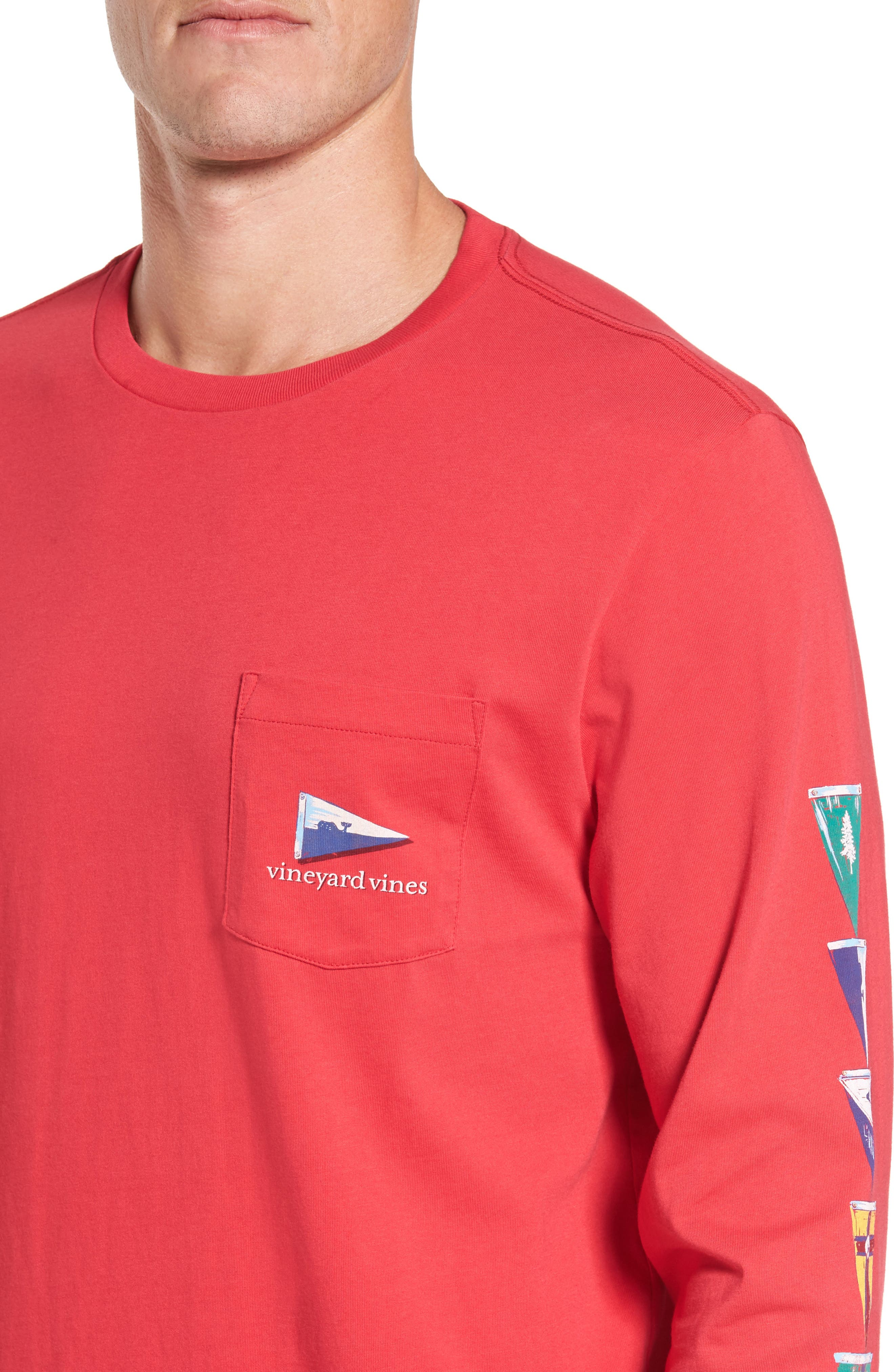 Coastal Burgees Long Sleeve Pocket T-Shirt,                             Alternate thumbnail 4, color,                             Barberry