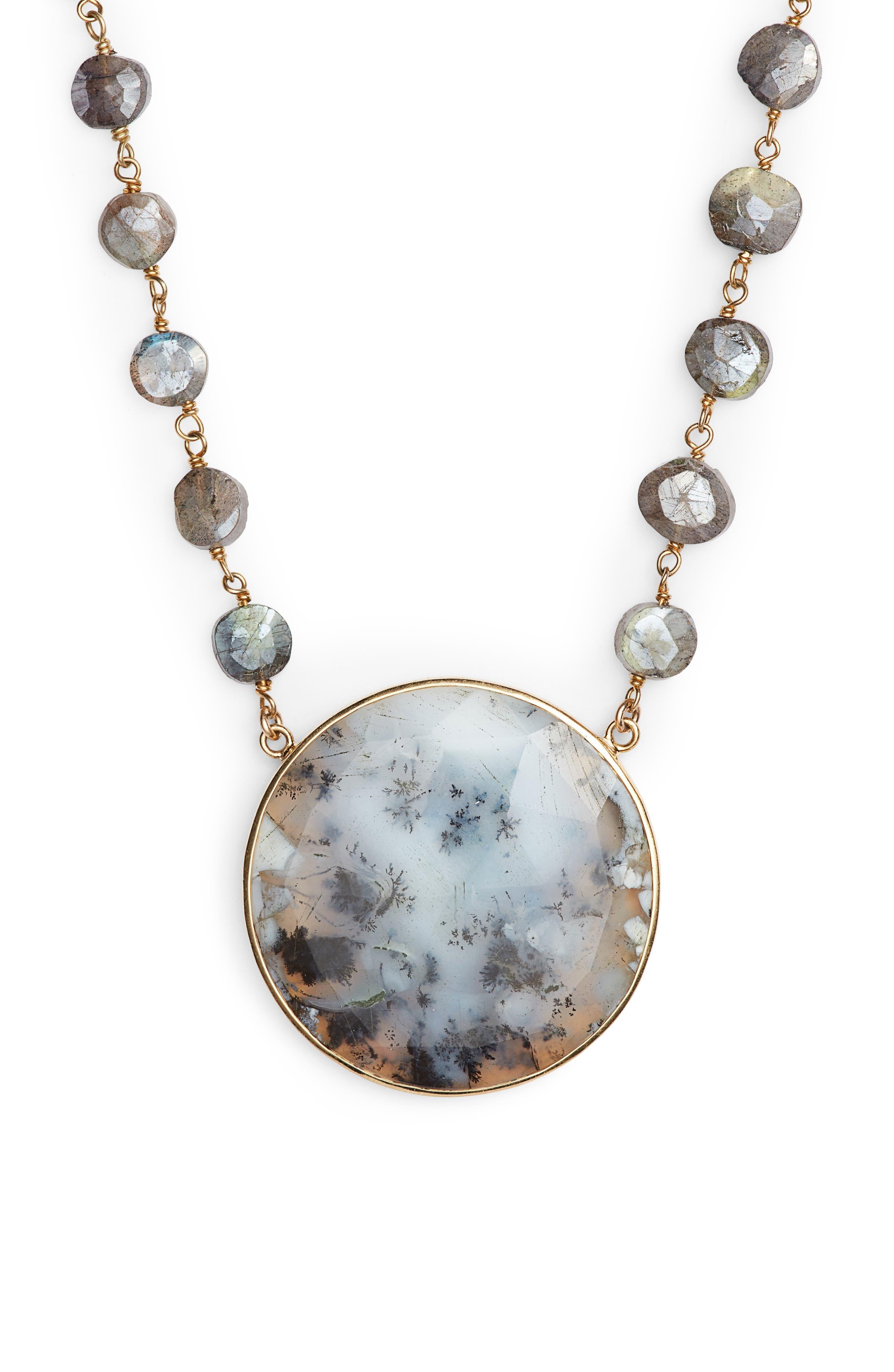Morah Semiprecious Stone Necklace,                         Main,                         color, Mystic Labradorite/Opal