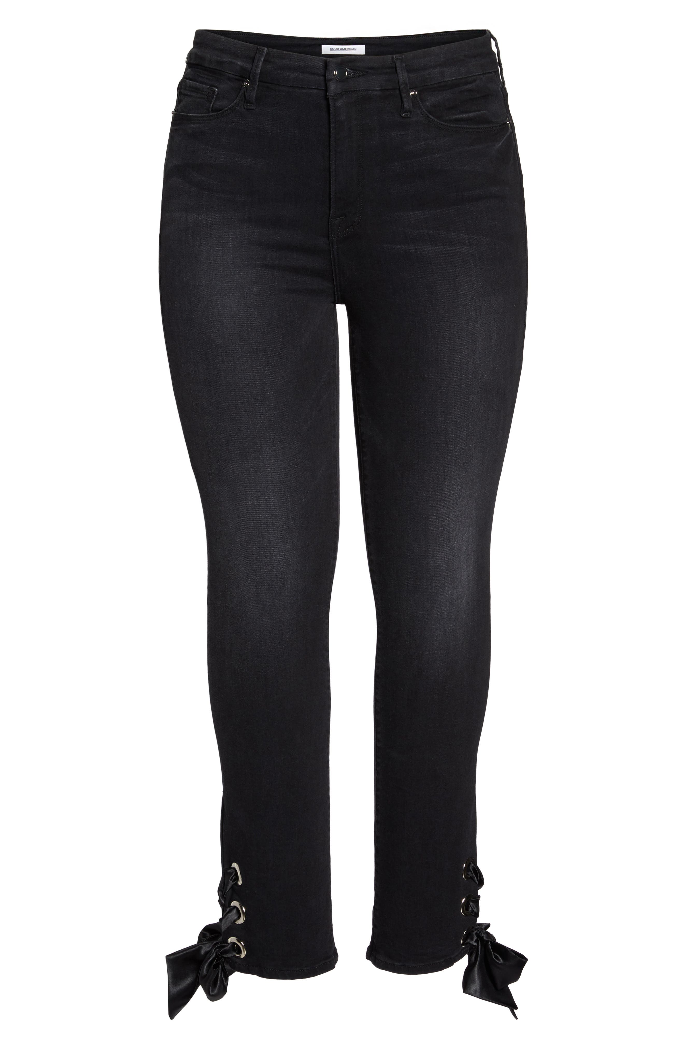 Alternate Image 9  - Good American Good Straight Ankle Lace Skinny Jeans (Black 010) (Extended Sizes)