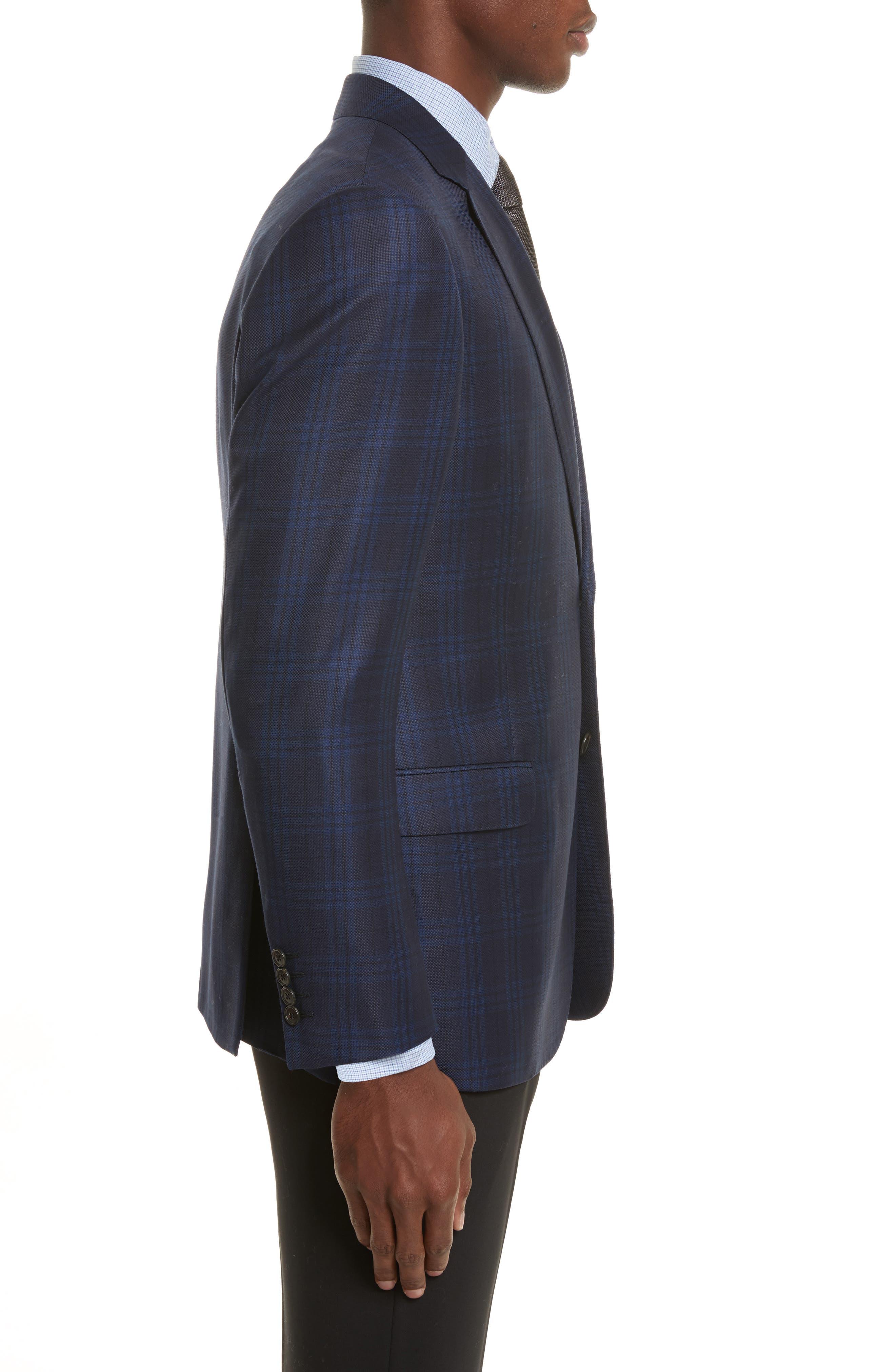 G-Line Trim Fit Houndstooth Wool Sport Coat,                             Alternate thumbnail 3, color,                             Navy