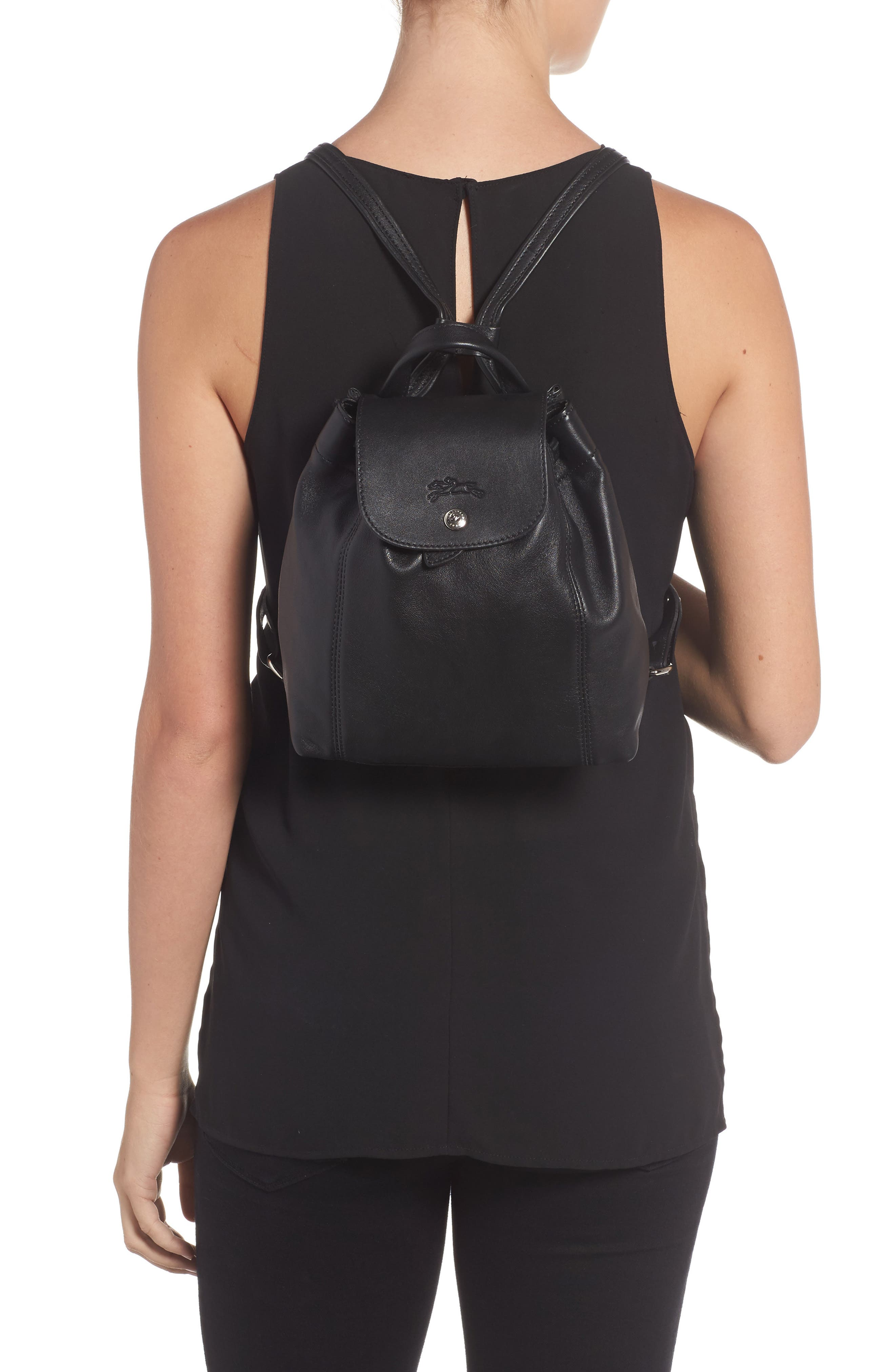 Extra Small Le Pliage Cuir Backpack,                             Alternate thumbnail 6, color,                             Black