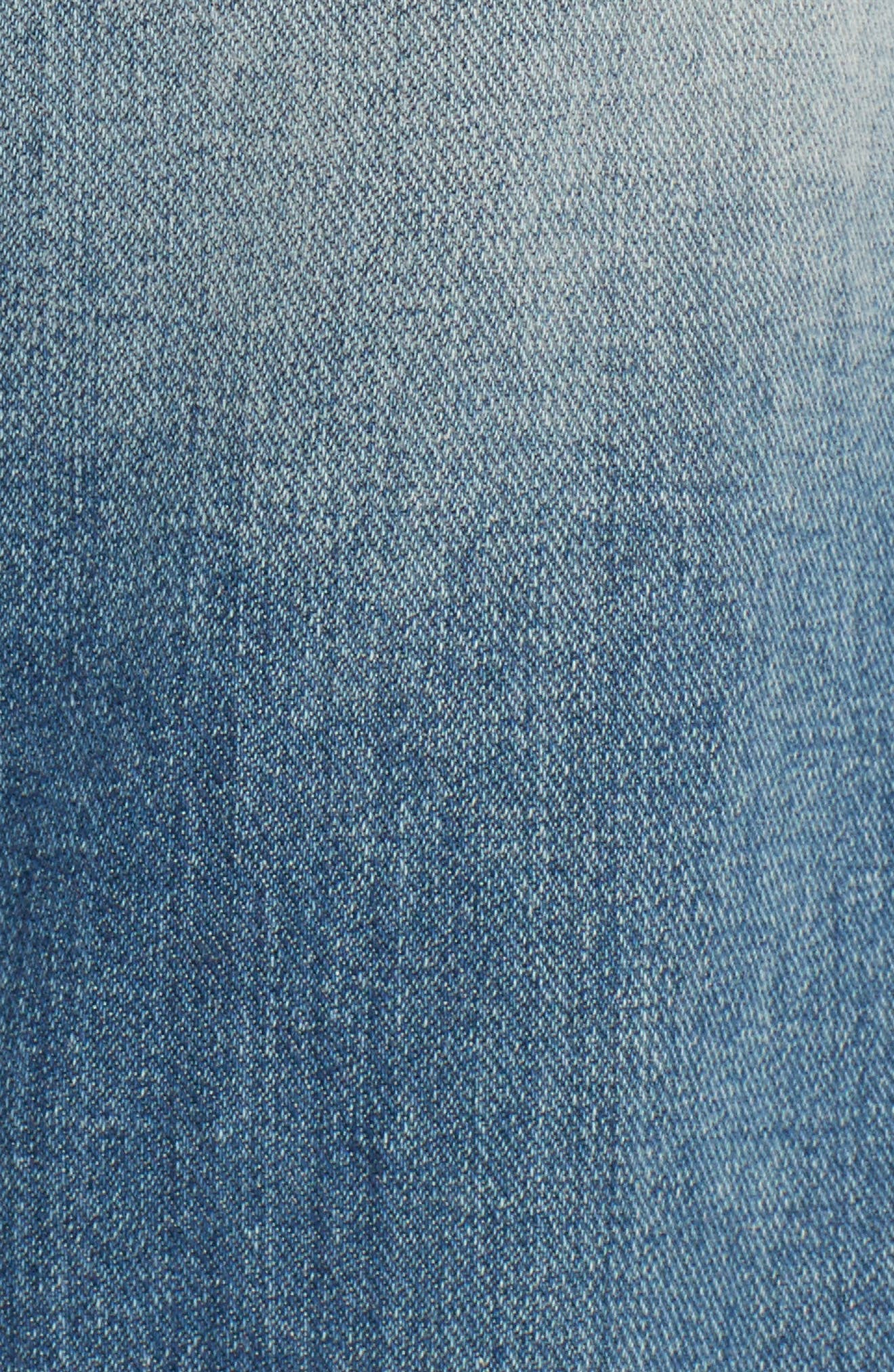 Ripped Crop Step Hem Jeans,                             Alternate thumbnail 5, color,                             Denim