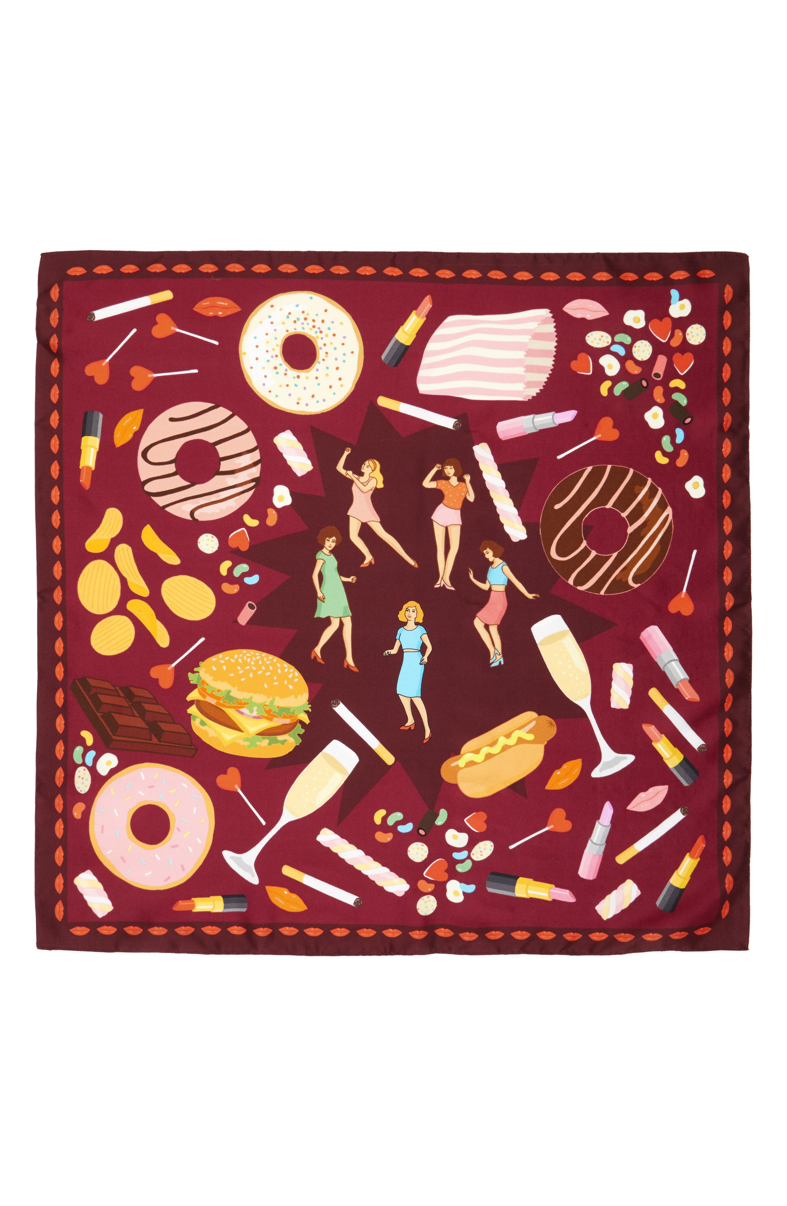 Guilty Pleasures Silk Square Scarf,                             Alternate thumbnail 2, color,                             Maroon
