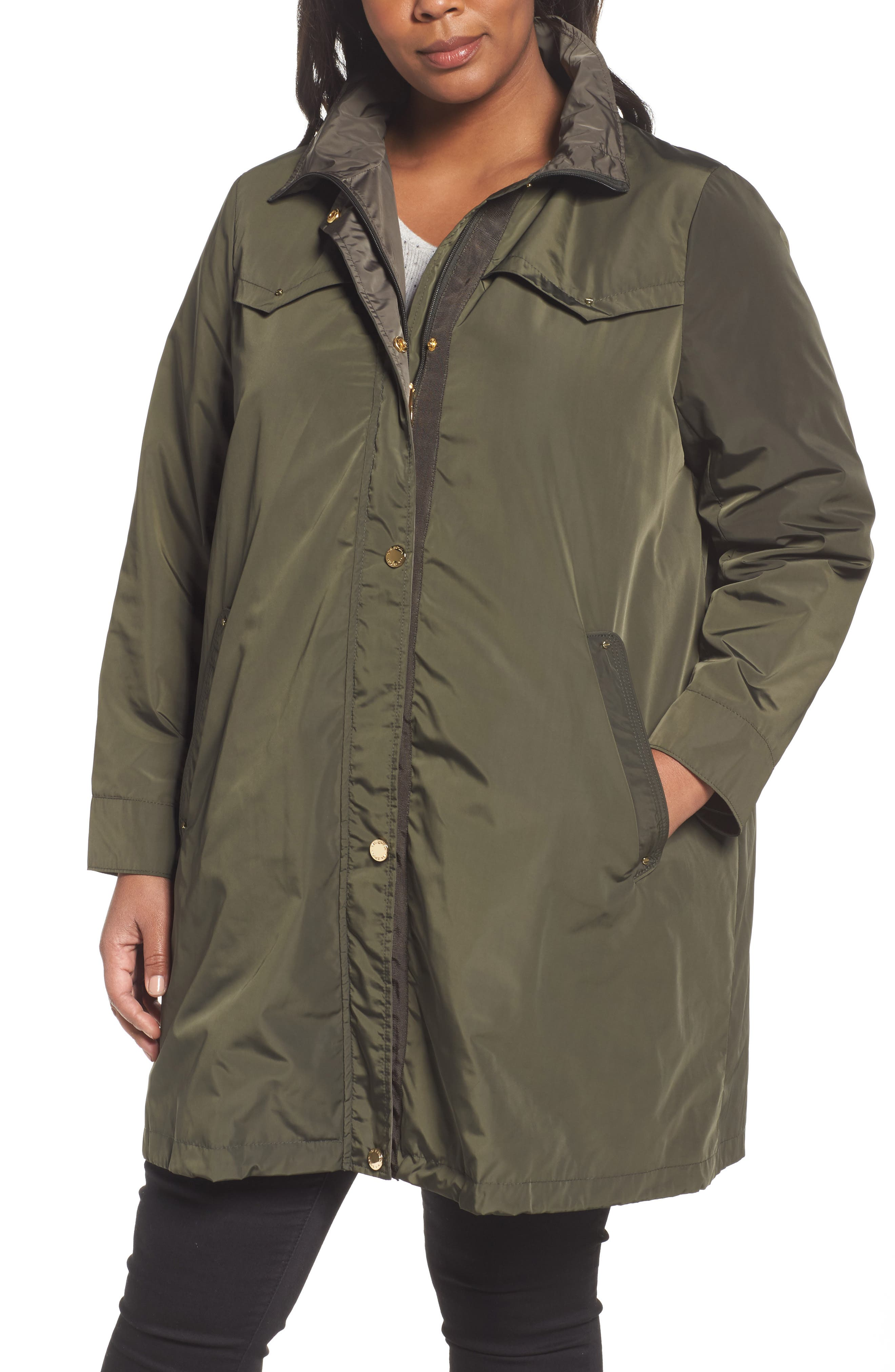 Alternate Image 4  - Via Spiga Hooded Packable Utility Coat (Plus Size)