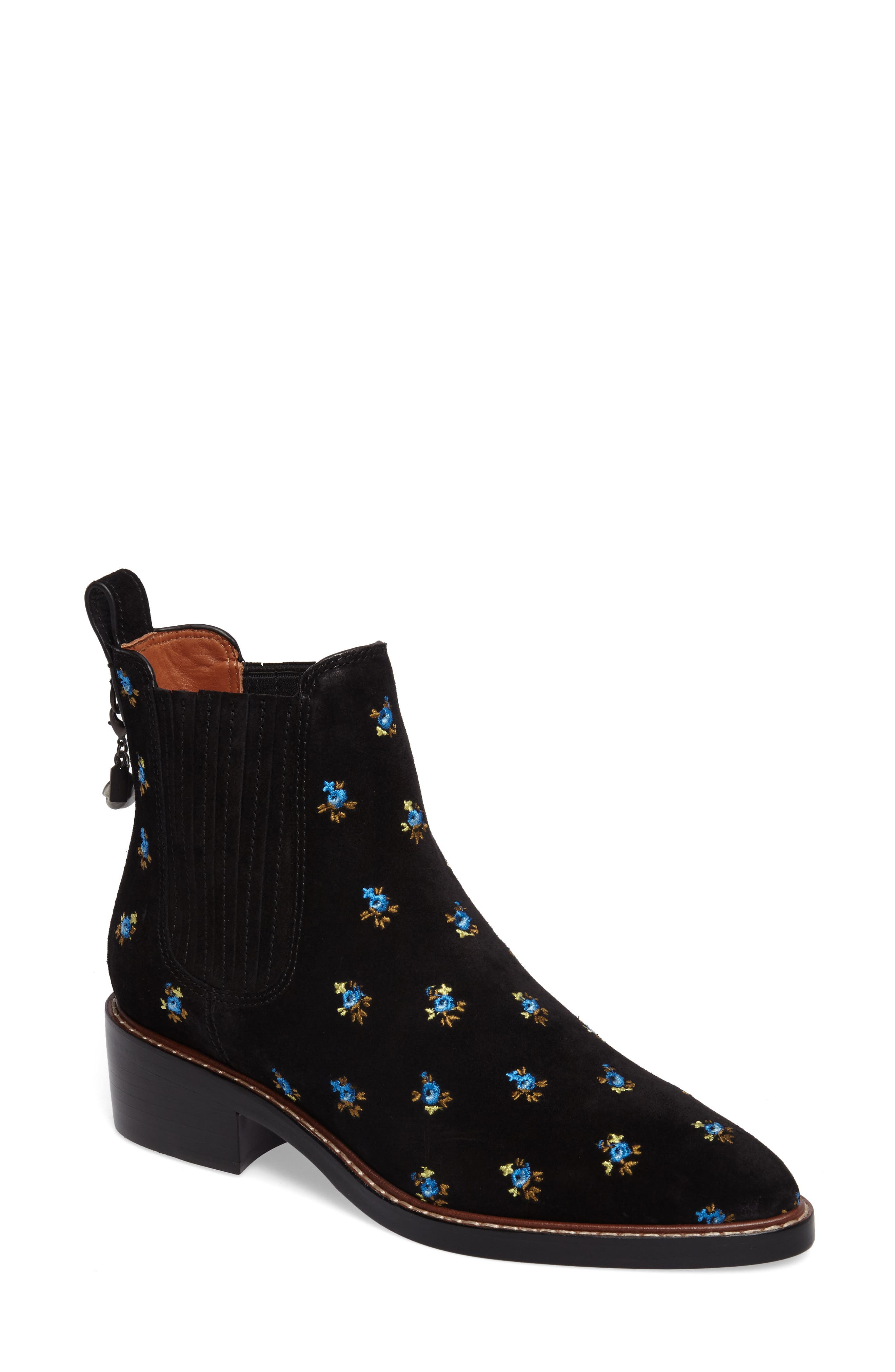 COACH Bowery Embroidered Chelsea Bootie (Women)